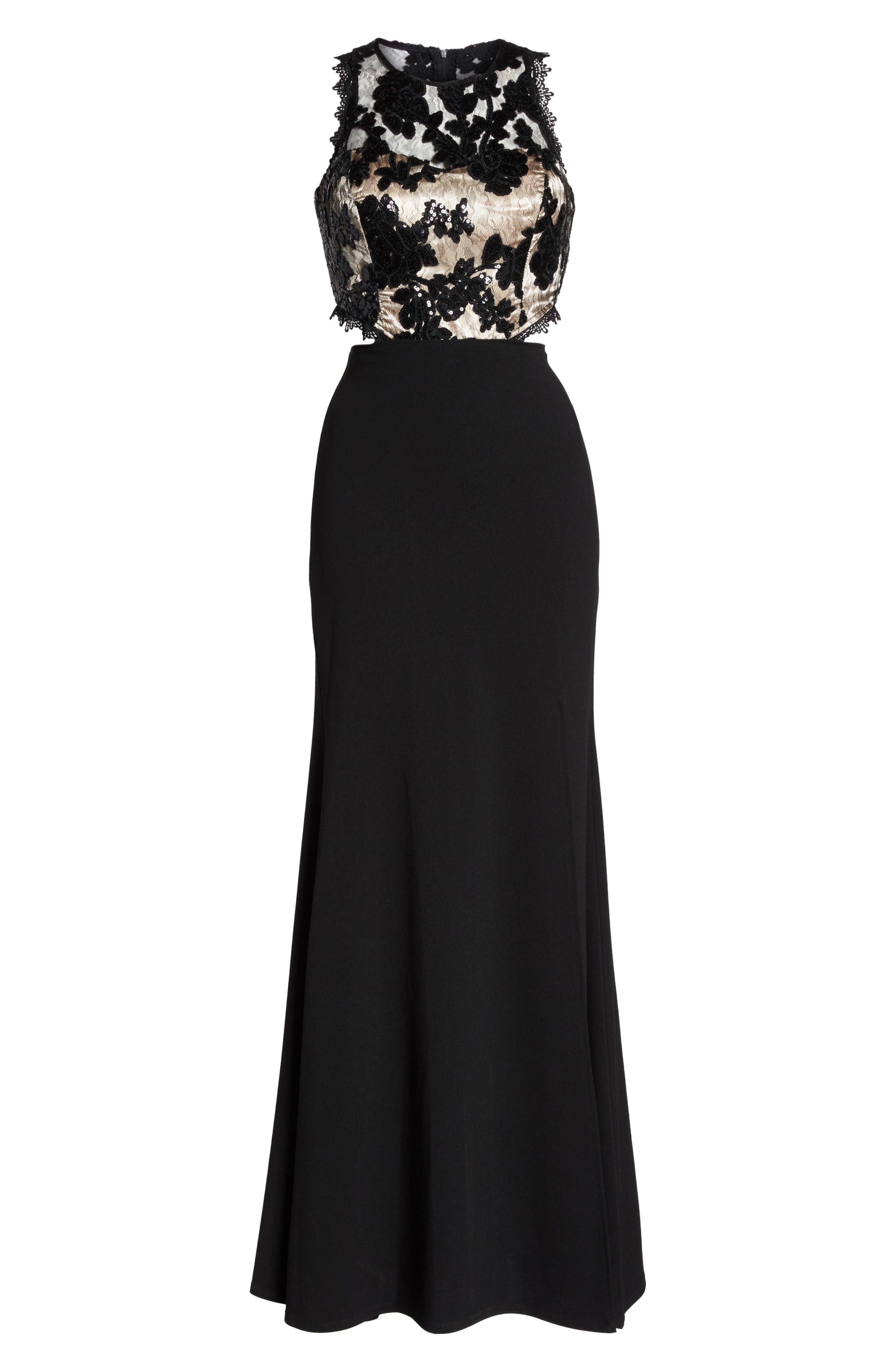 Cutout Embellished Lace & Scuba Gown,                             Alternate thumbnail 6, color,                             Black/ Champagne
