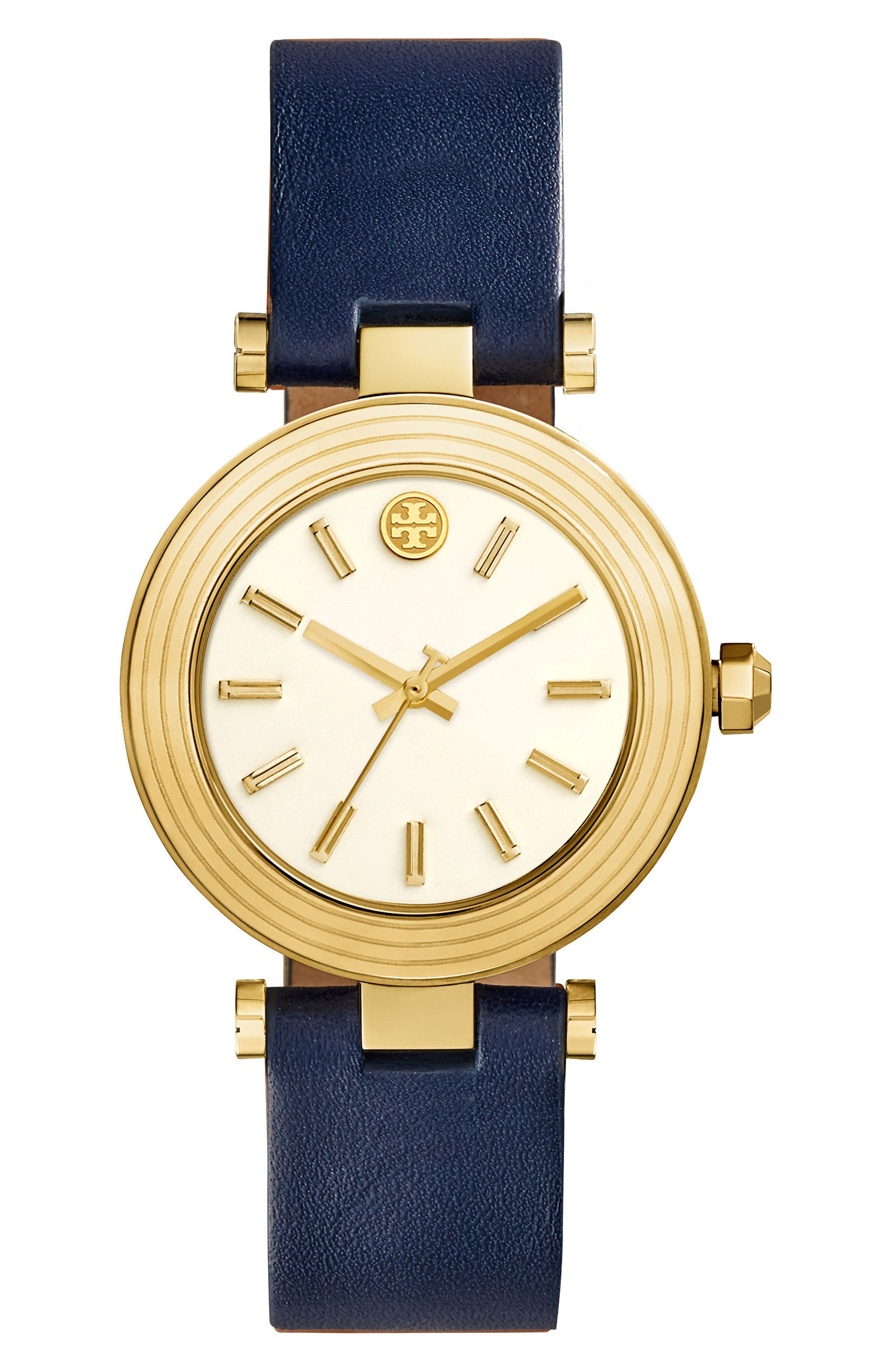 Classic-T Leather Strap Watch, 36mm,                         Main,                         color, Navy/ Ivory/ Gold