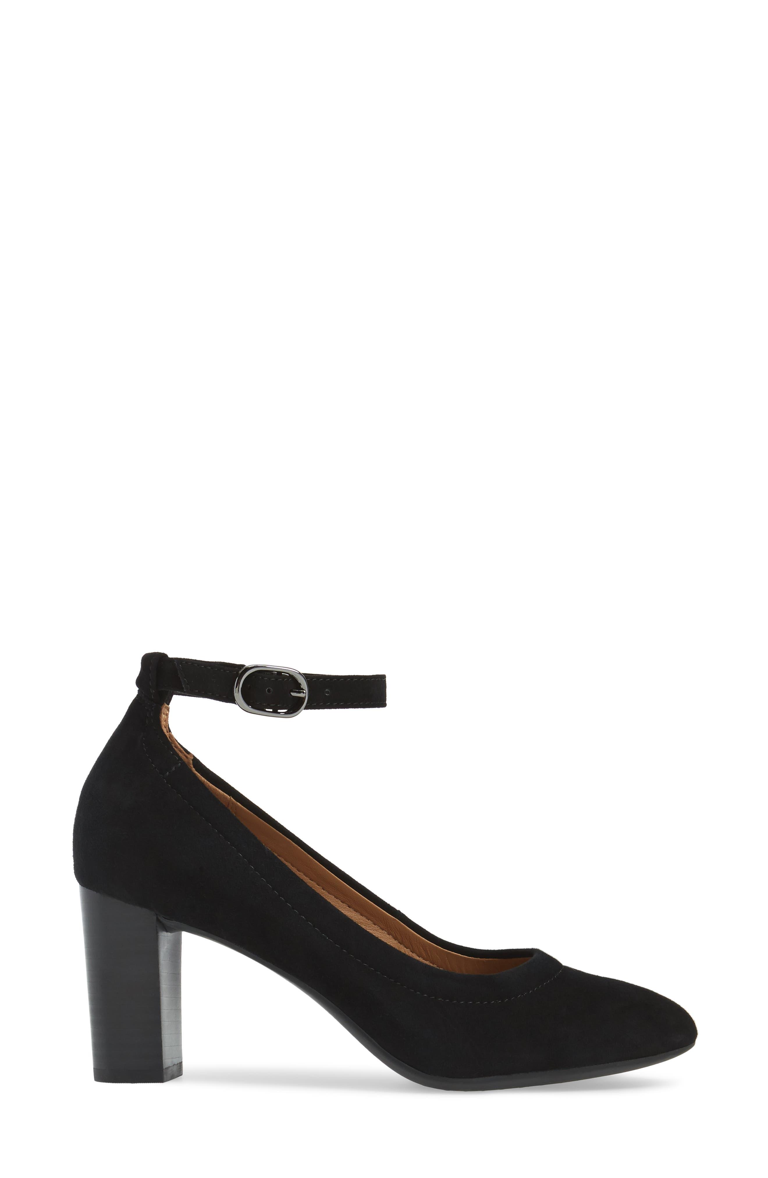 Chryssa Jana Ankle Strap Pump,                             Alternate thumbnail 3, color,                             Black Suede