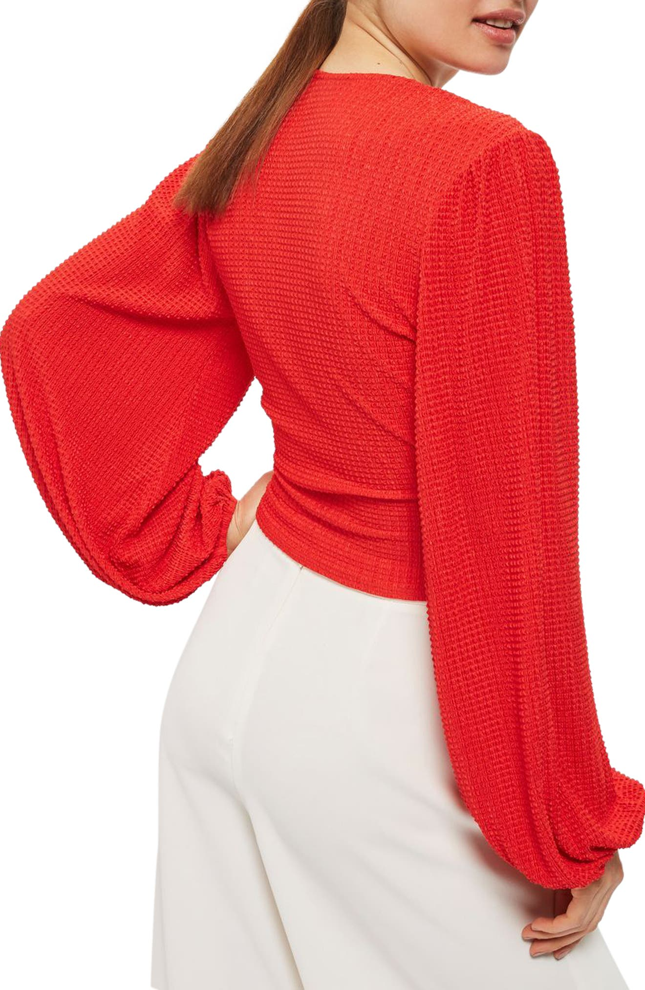 Blouson Sleeve Textured Wrap Top,                             Alternate thumbnail 2, color,                             Red