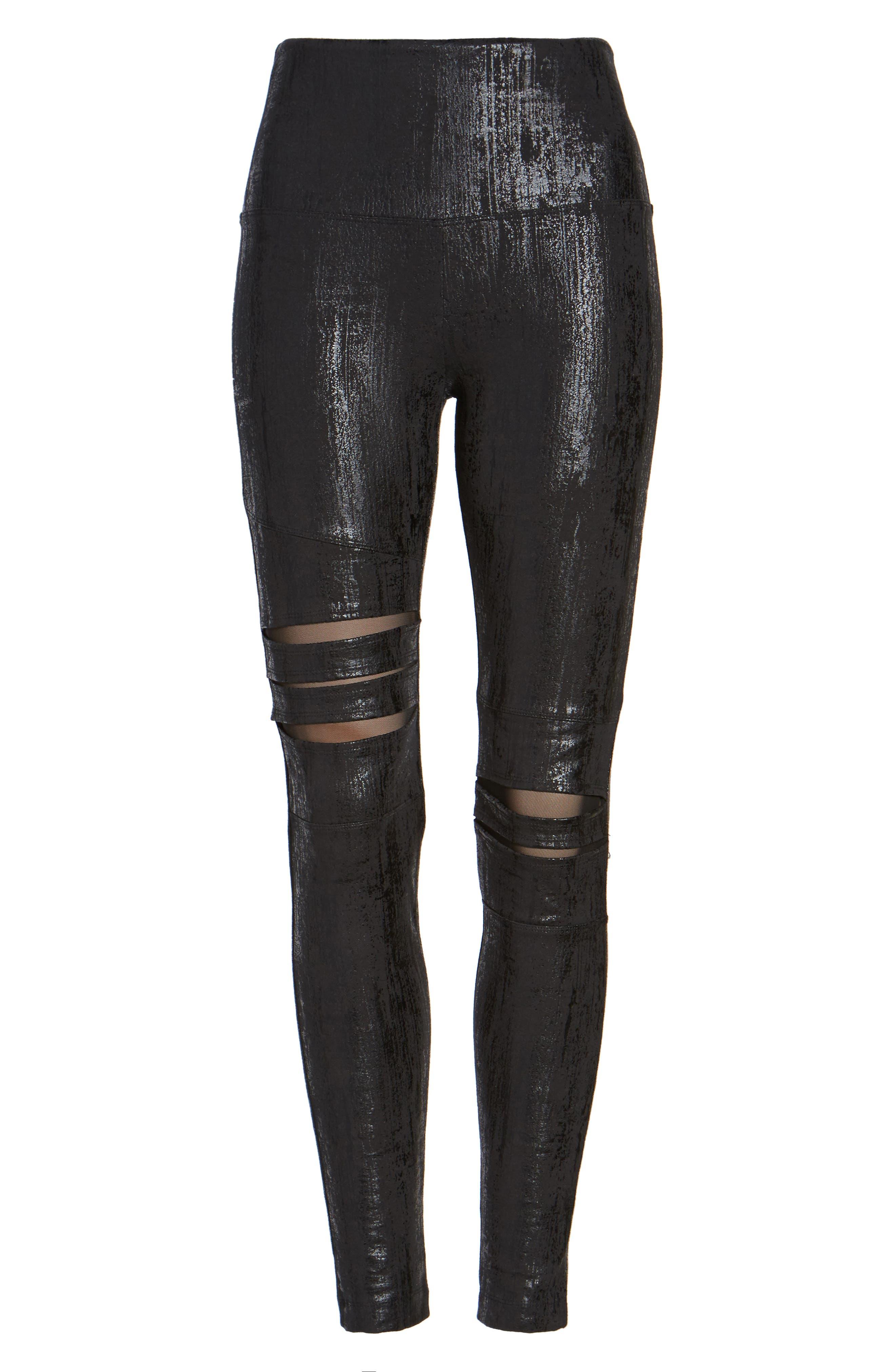 Slashed High Waist Leggings,                             Alternate thumbnail 4, color,                             Liquid Black
