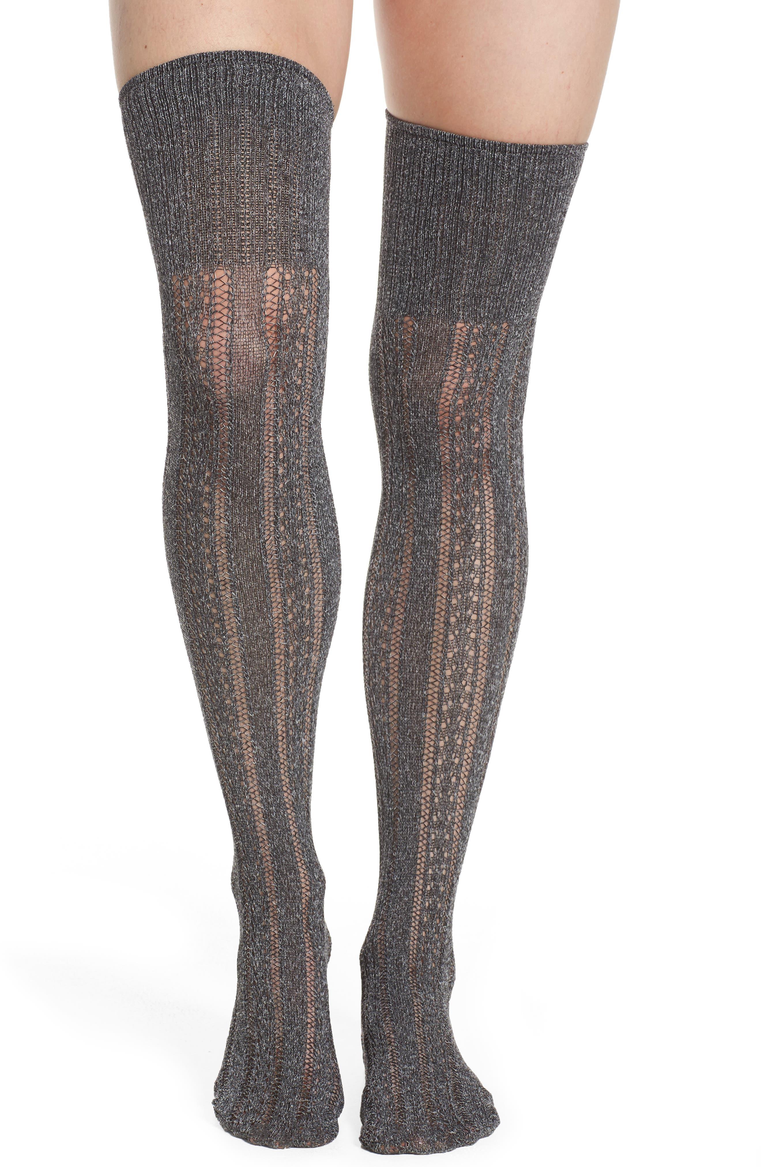 Alicia Over the Knee Socks,                         Main,                         color, Grey Melange