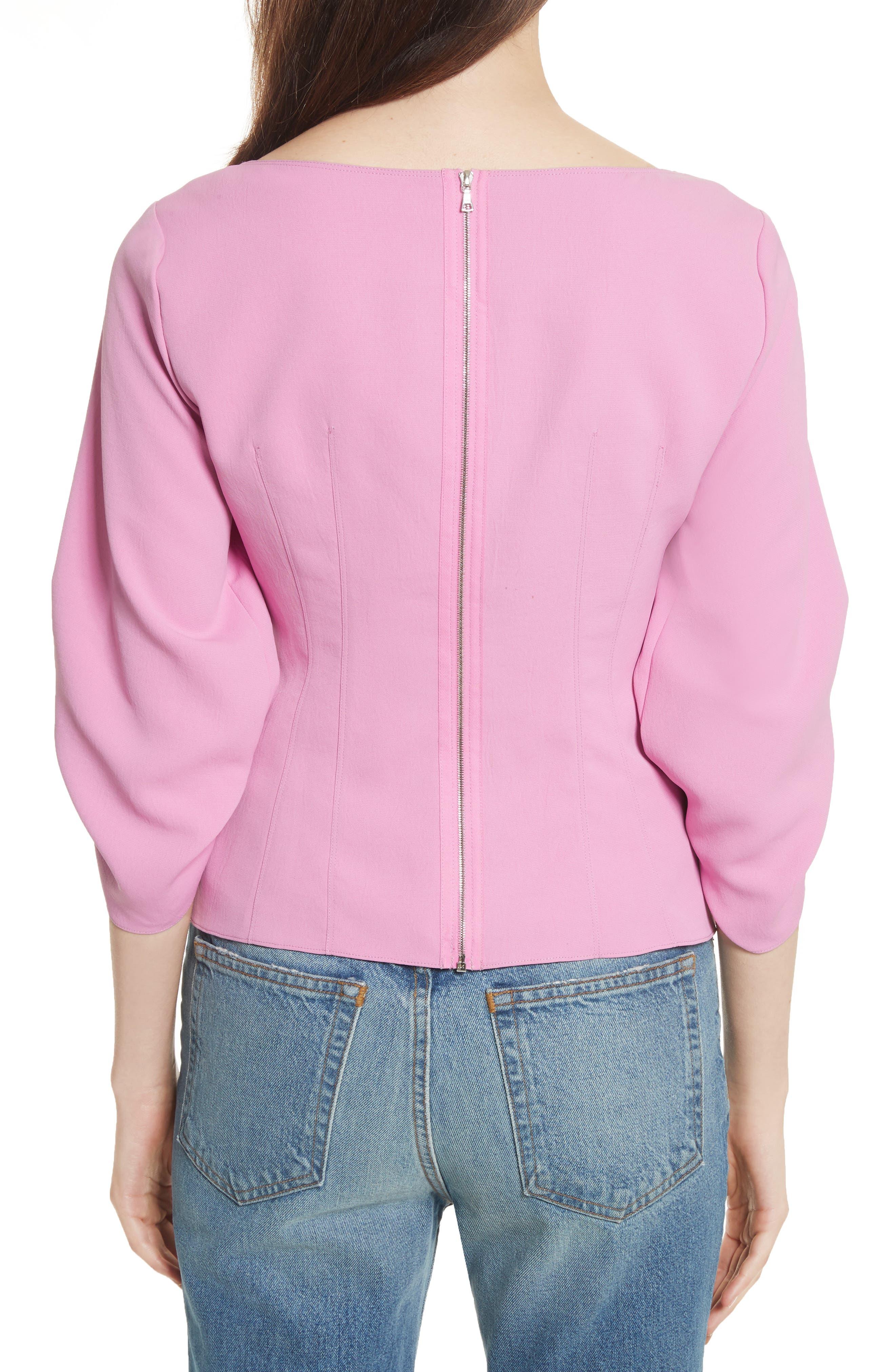 Draped Twill Corset Top,                             Alternate thumbnail 2, color,                             Pink