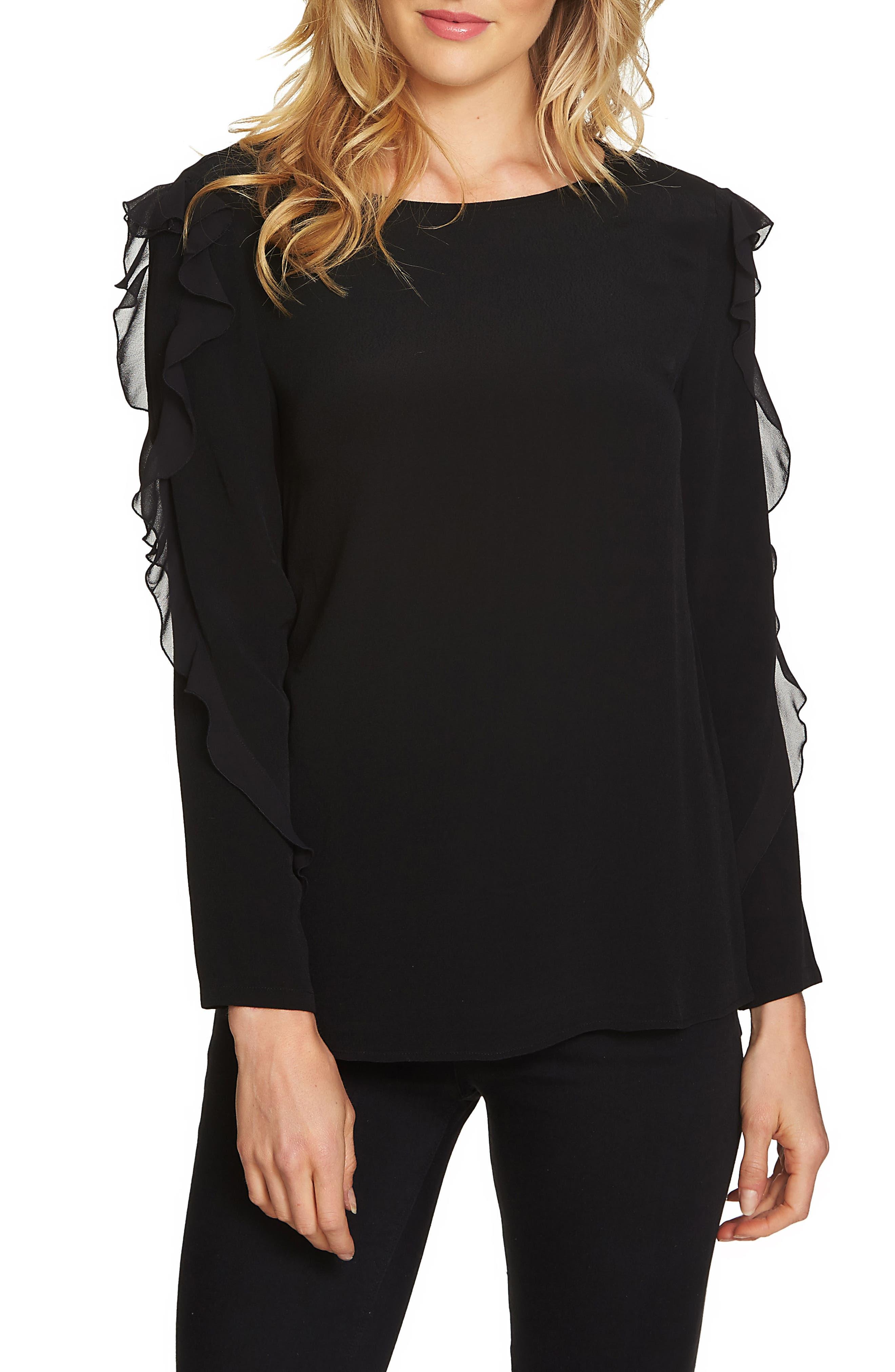 Ruffle Sleeve Top,                         Main,                         color, Rich Black