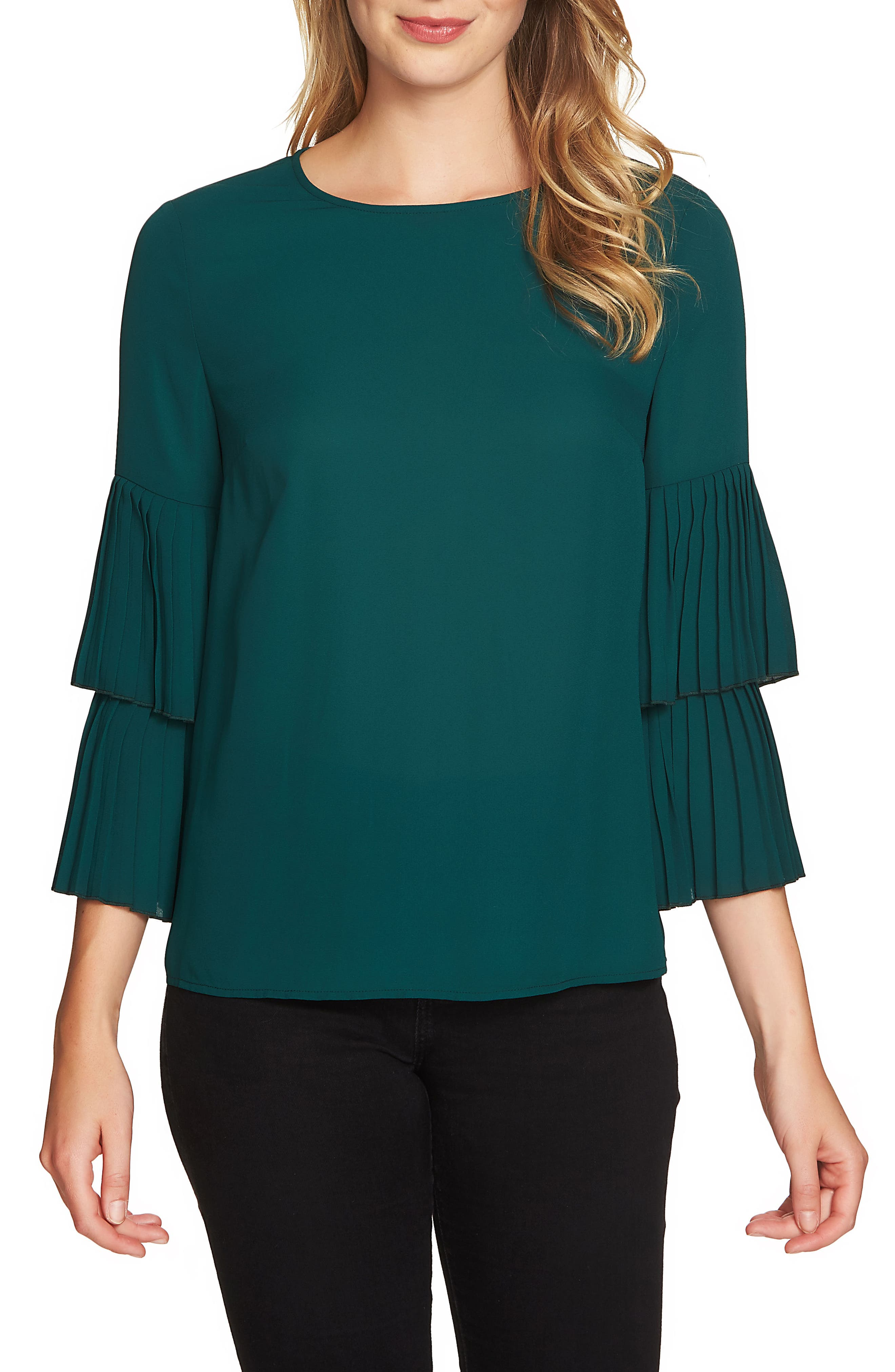 1.STATE Pleated Sleeve Blouse