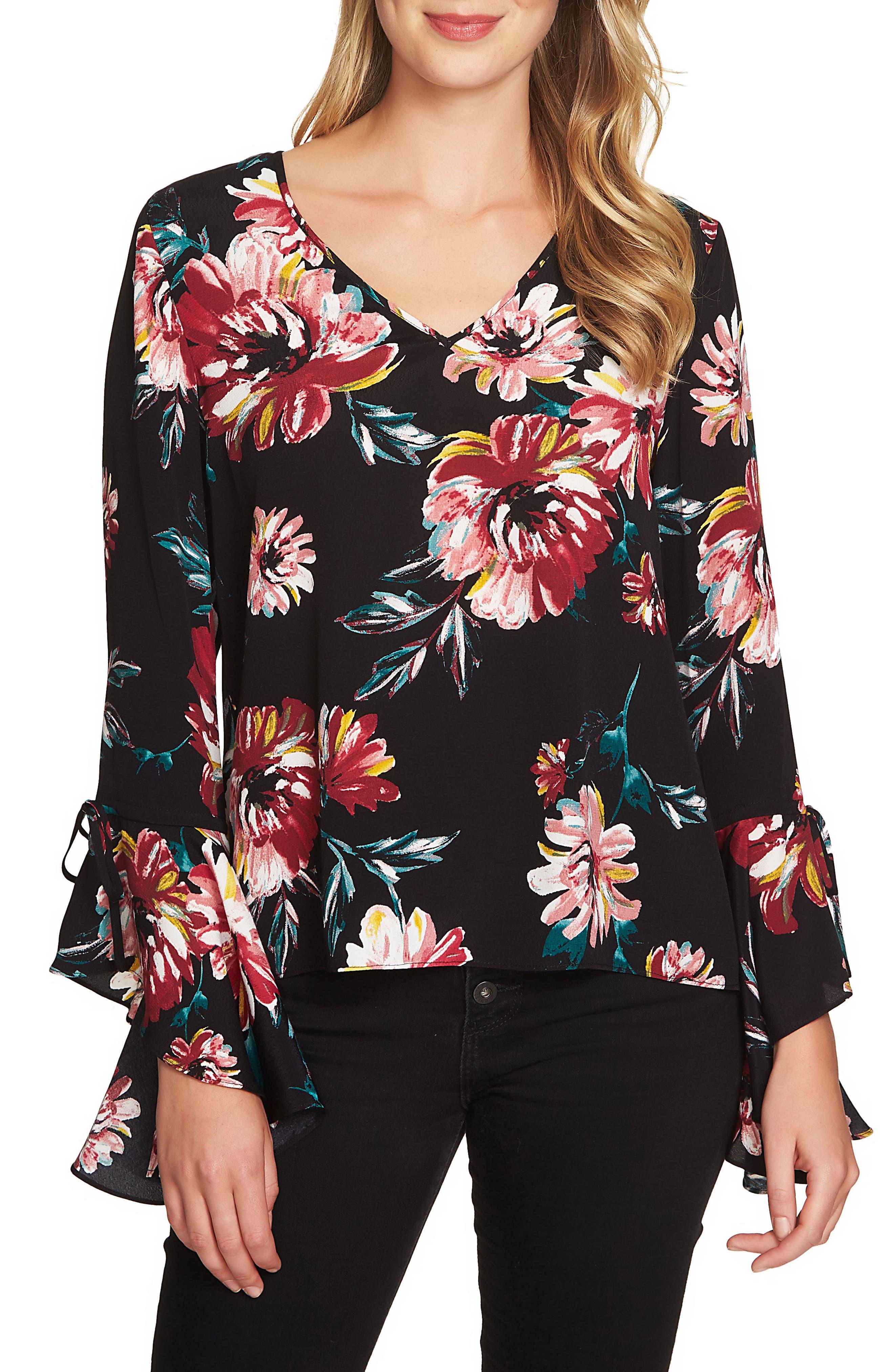 Print Cascade Sleeve Blouse,                         Main,                         color, Rich Black