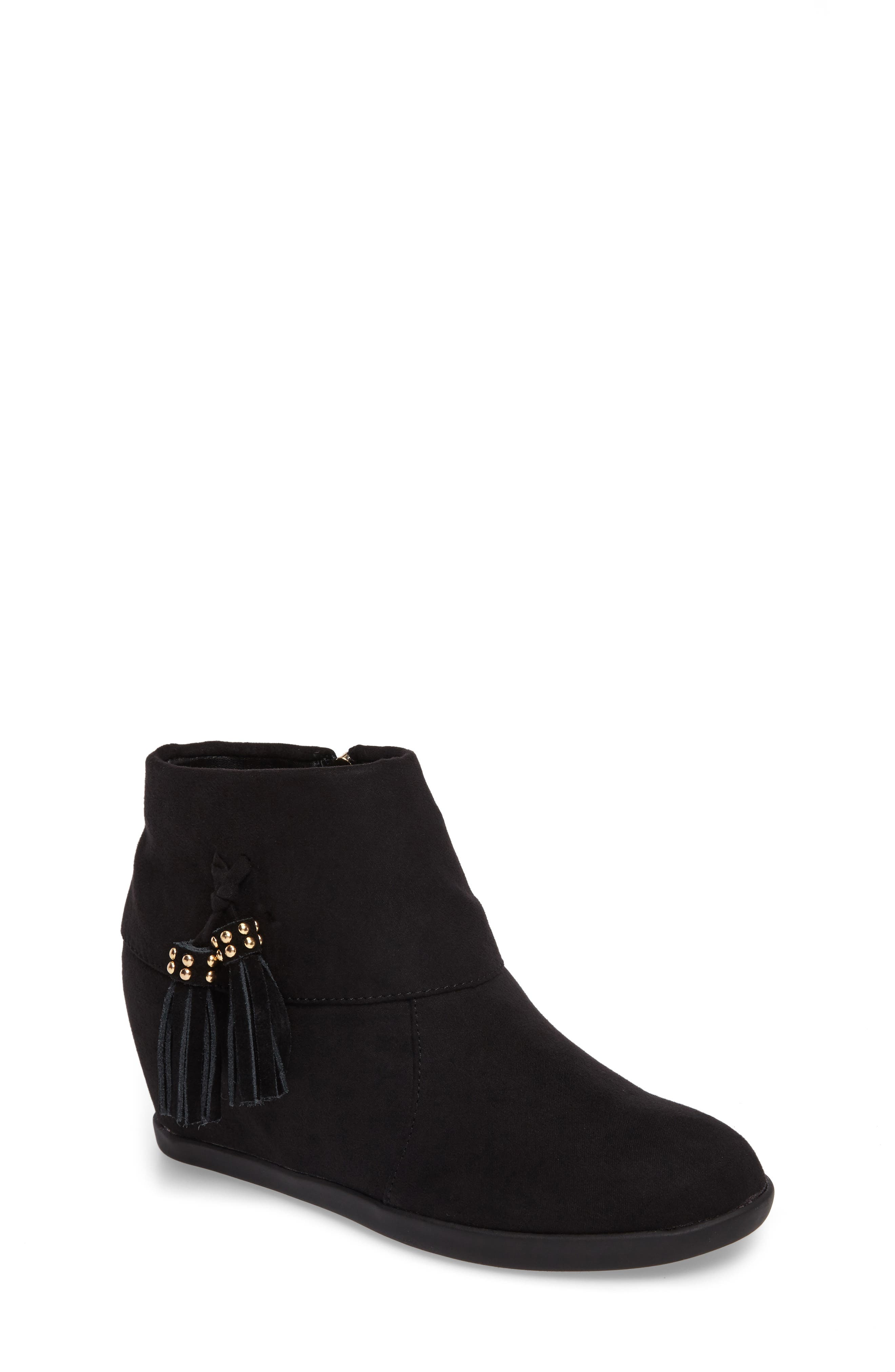 Valentina Cuff Concealed Wedge Bootie,                             Main thumbnail 1, color,                             Black