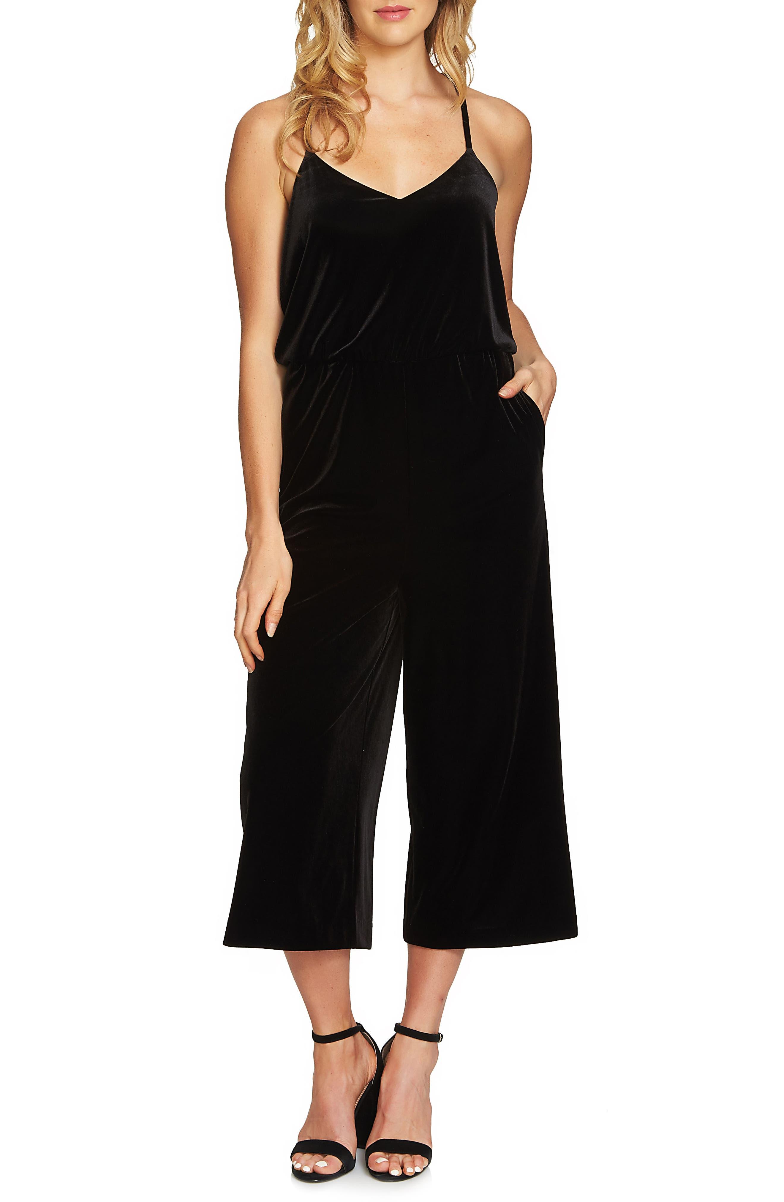 Alternate Image 1 Selected - 1.STATE Velvet Culotte Jumpsuit