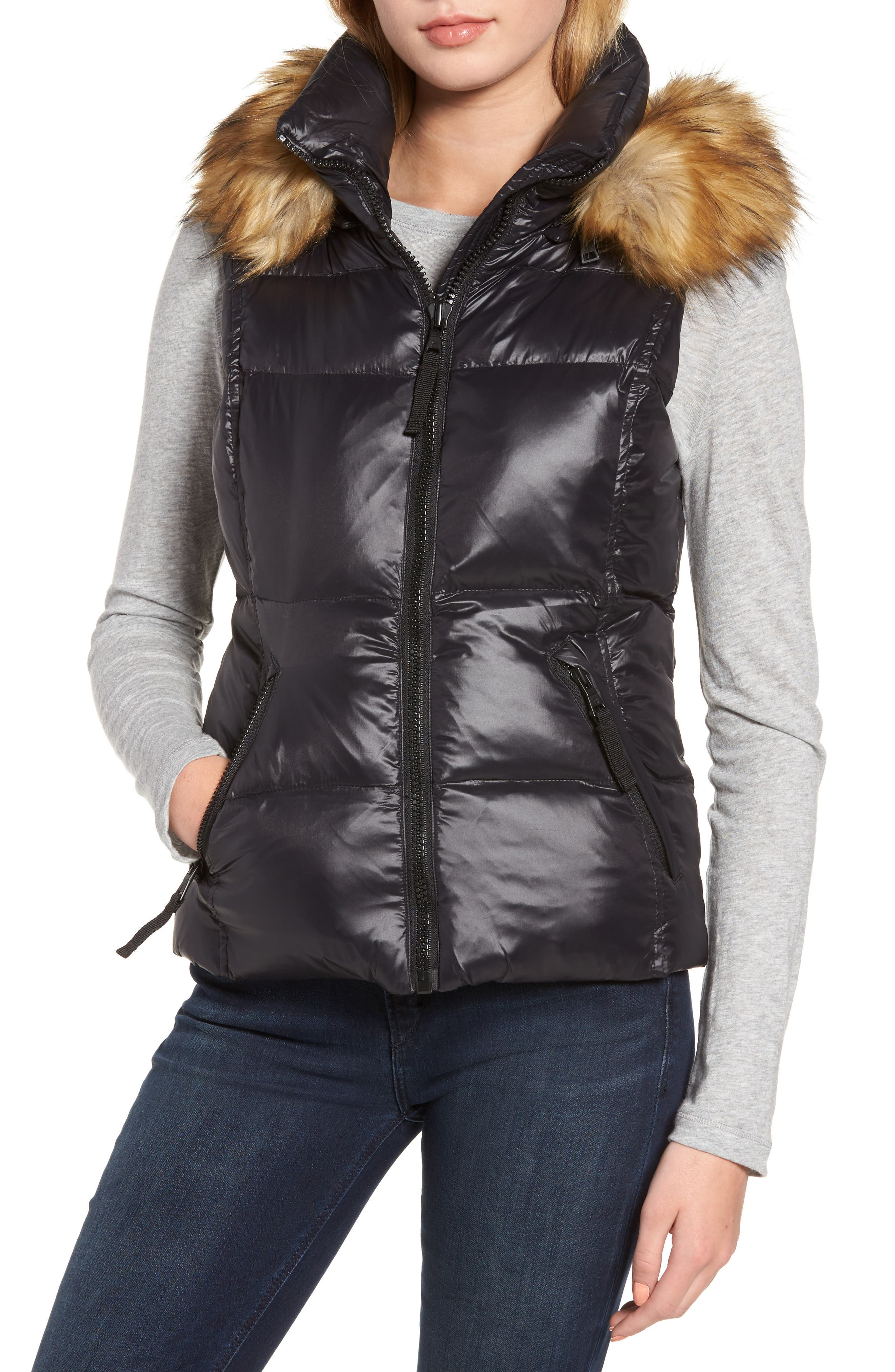 Snowcat Hooded Down & Feather Fill Vest with Faux Fur Trim