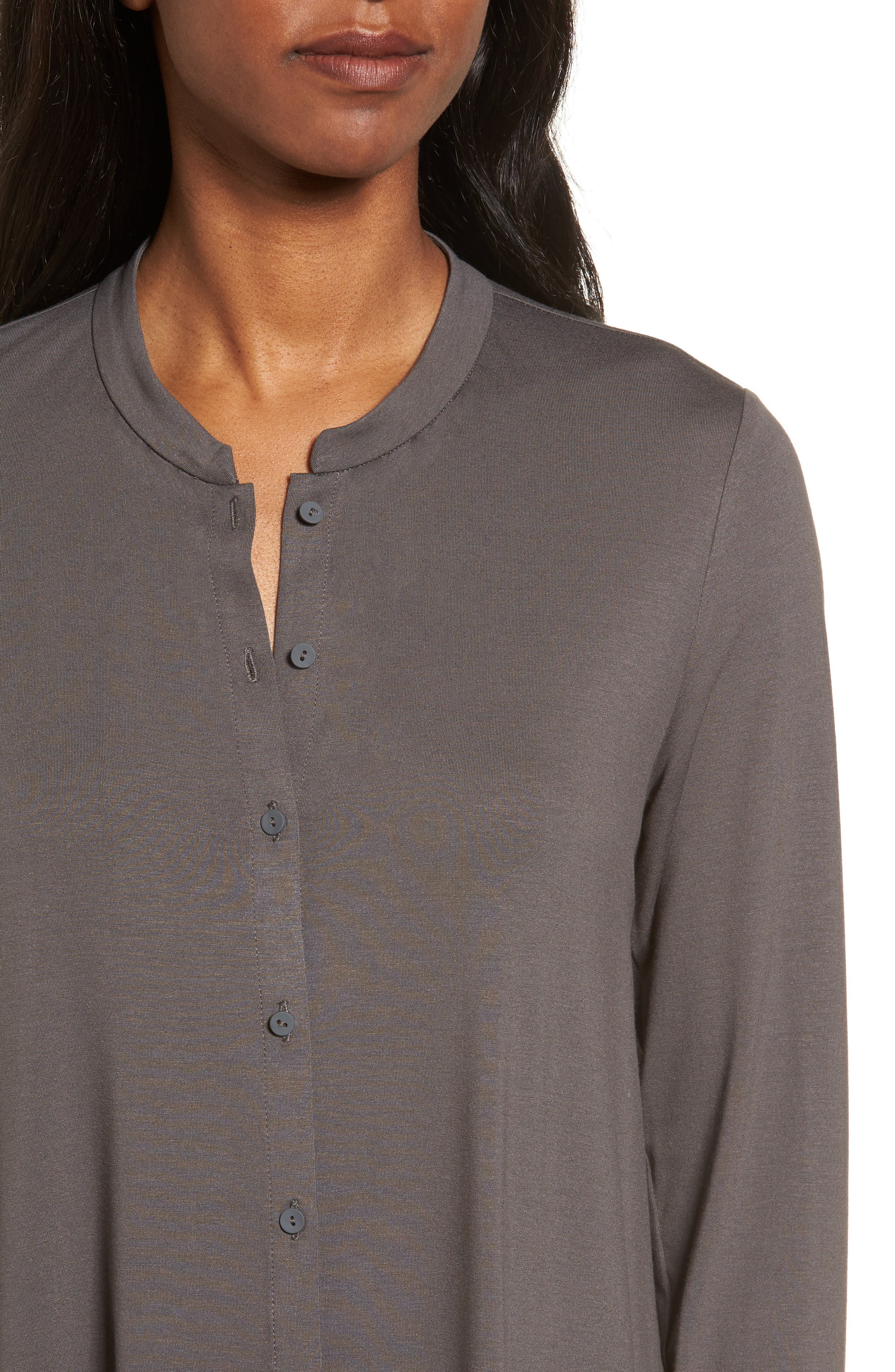 Button Front Jersey Tunic,                             Alternate thumbnail 4, color,                             Bark