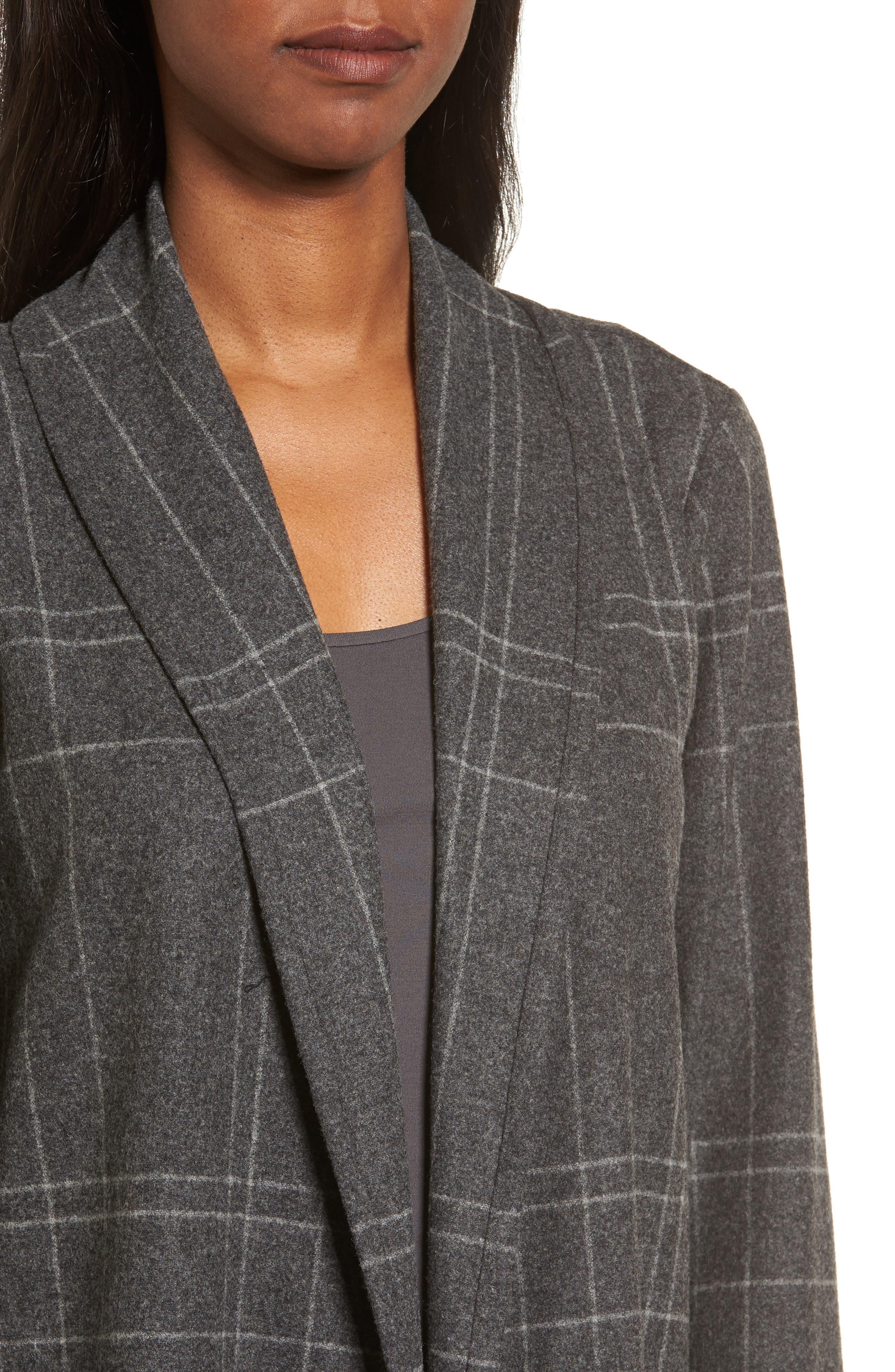 Plaid Kimono Jacket,                             Alternate thumbnail 4, color,                             Dark Ash