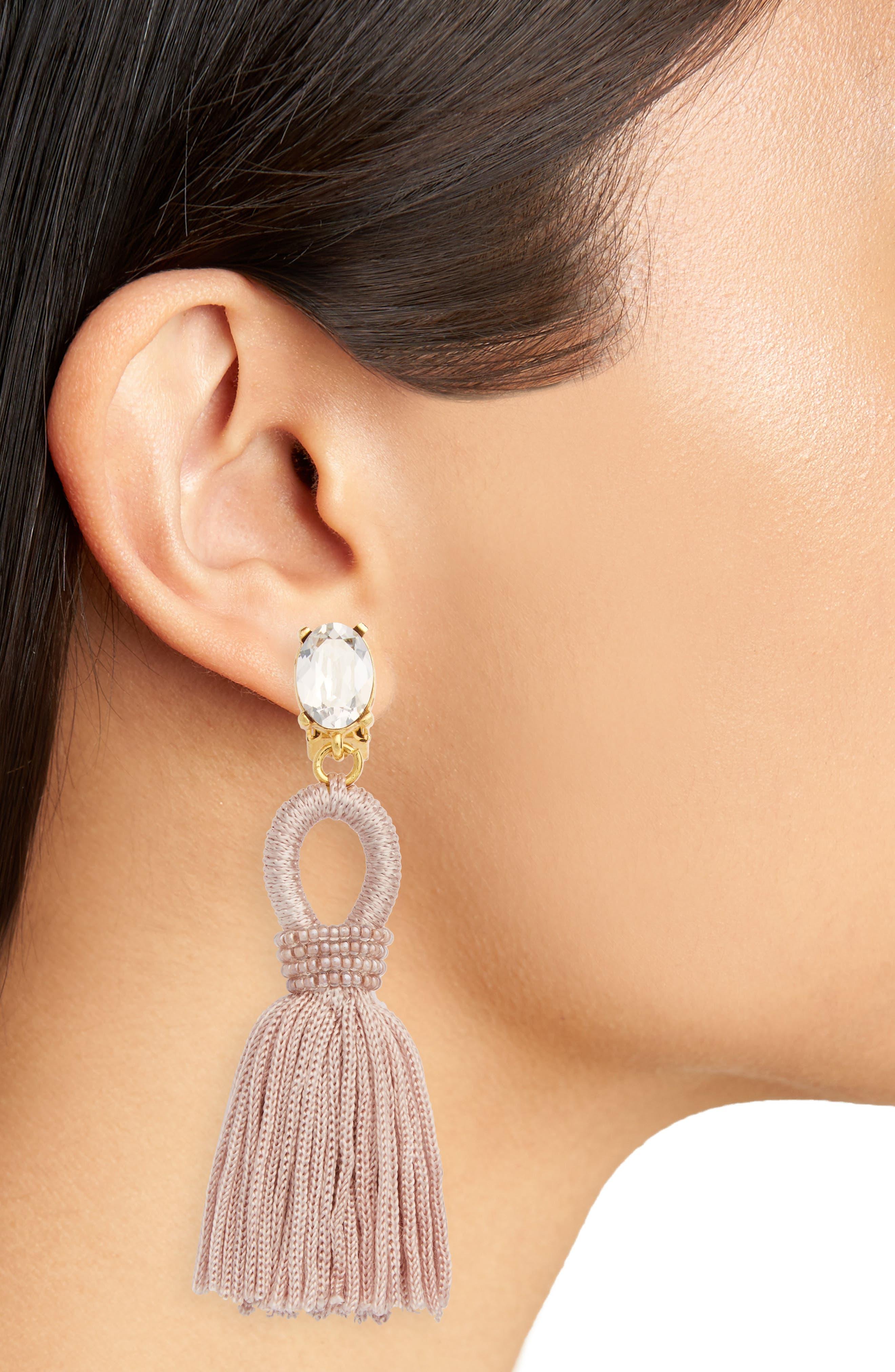 Silk Tassel Drop Earrings,                             Alternate thumbnail 2, color,                             Dove