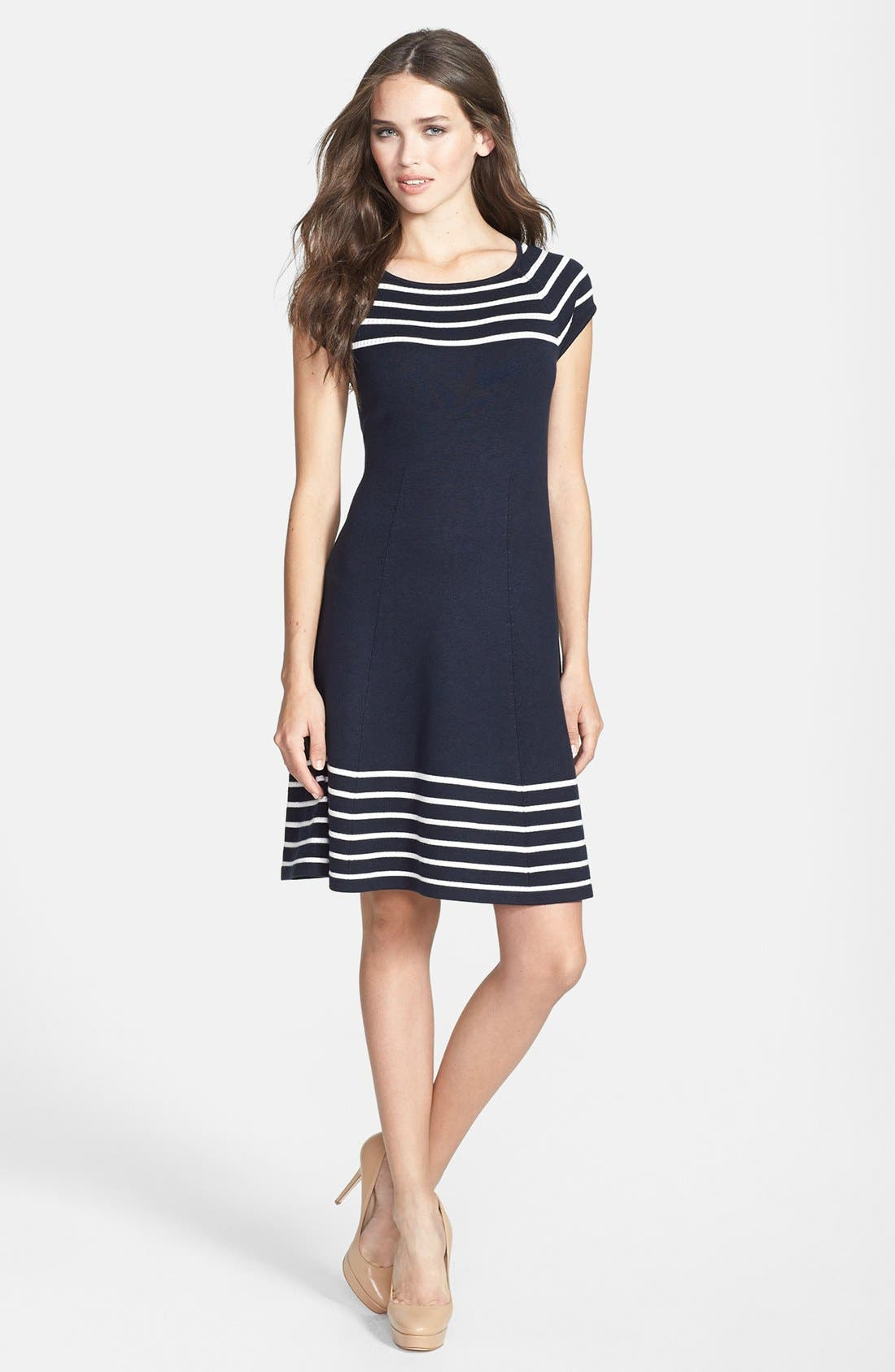 Main Image - Eliza J Stripe Knit Flared Dress