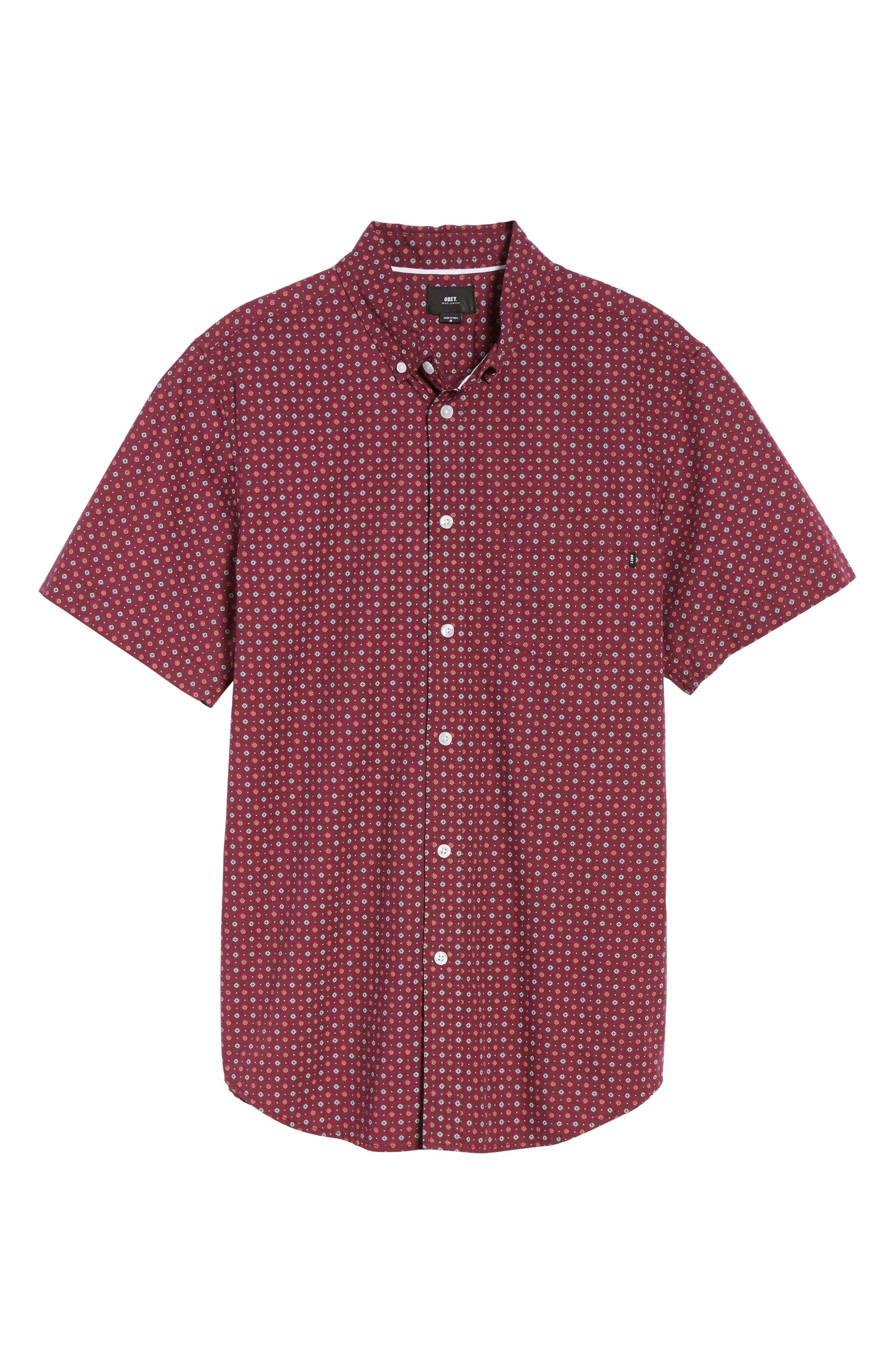 Sterling Woven Shirt,                             Alternate thumbnail 6, color,                             Raspberry Multi