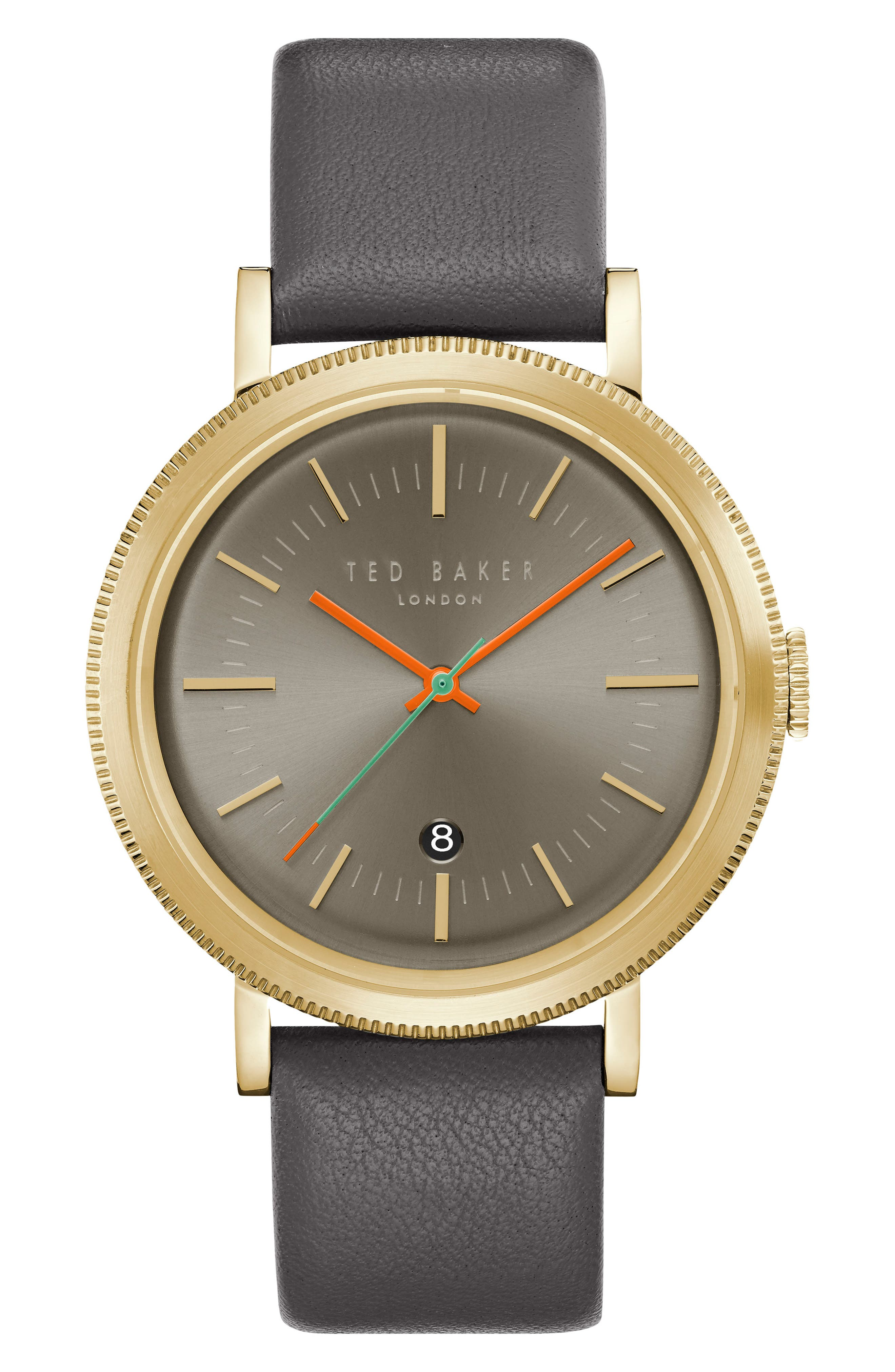 Connor Leather Strap Watch, 42mm,                         Main,                         color, Grey/ Grey
