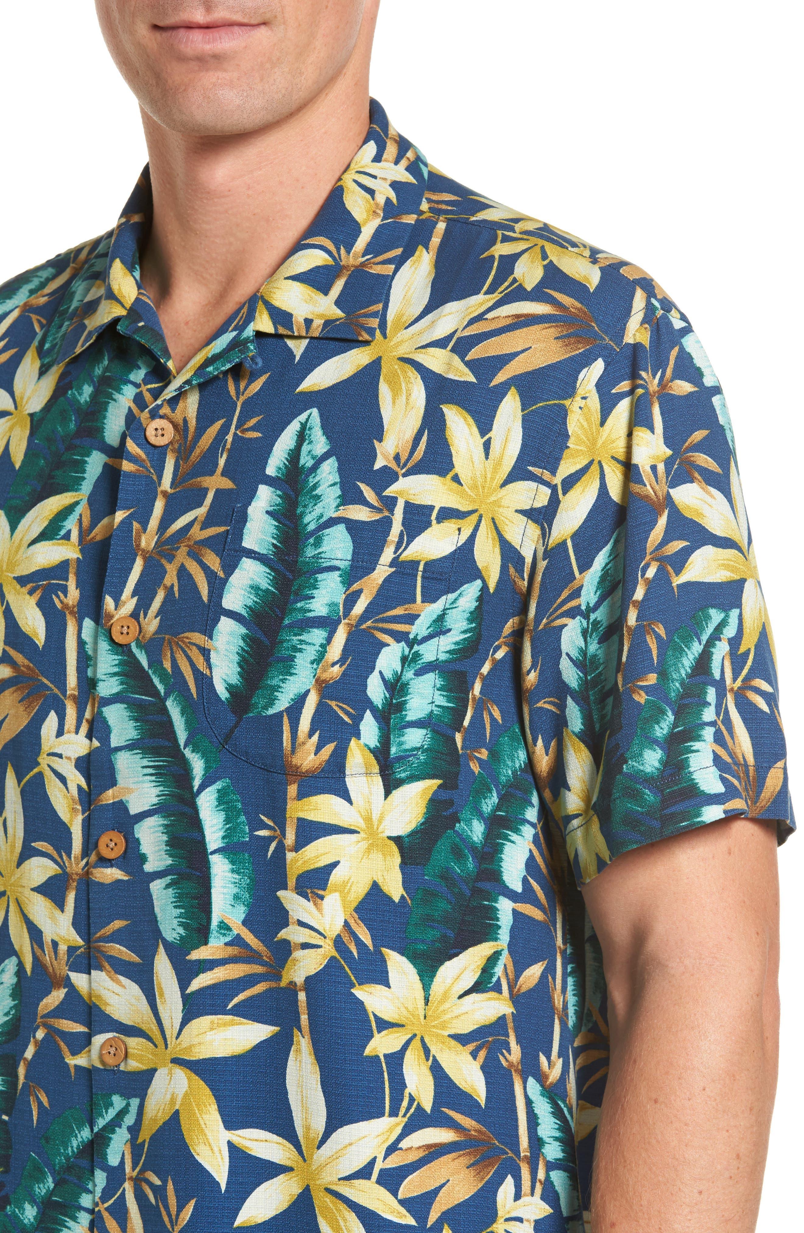 Standard Fit Jungle Punch Silk Camp Shirt,                             Alternate thumbnail 4, color,                             Bering Blue