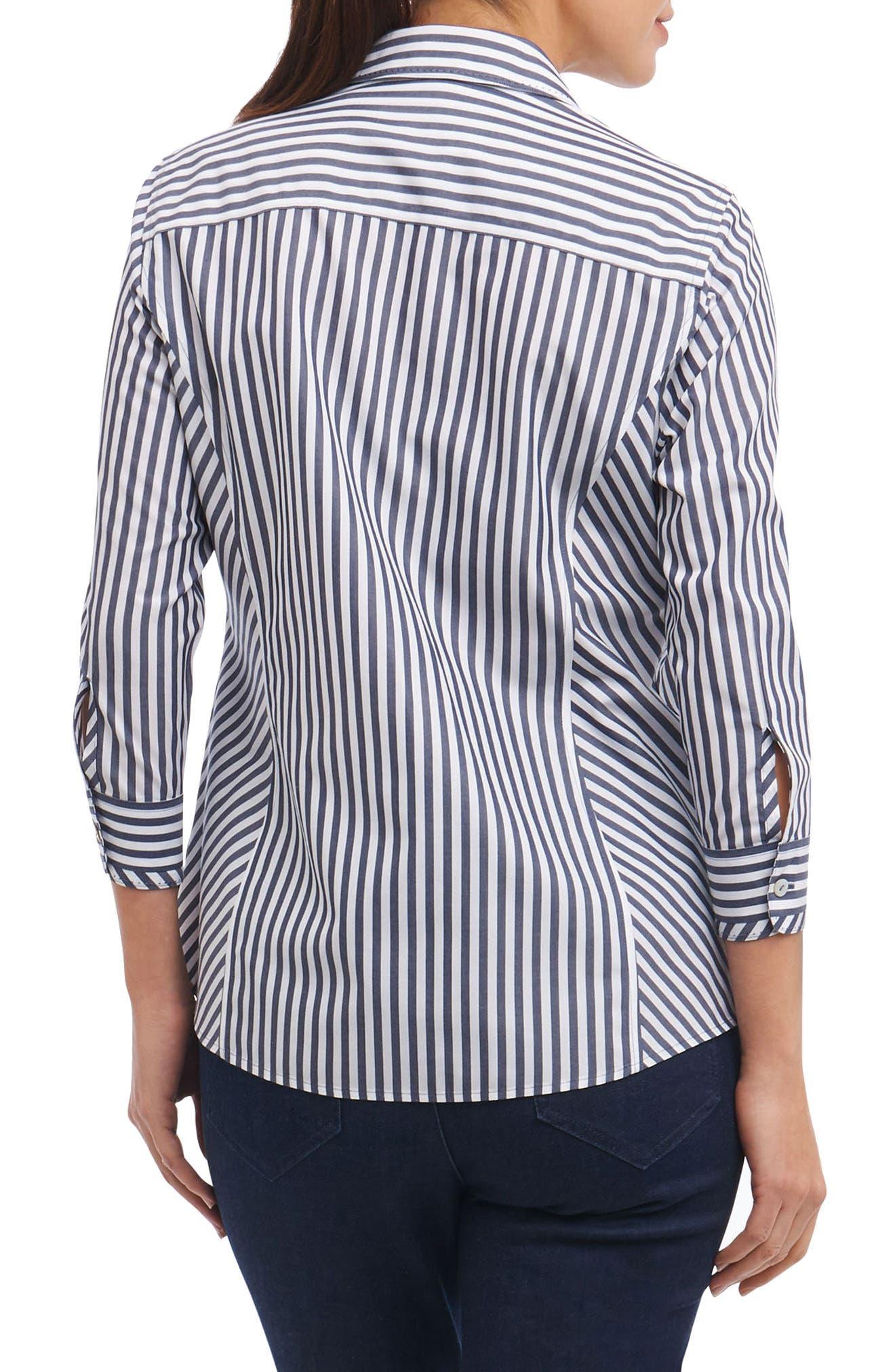 Hope Preppy Stripe Cotton Shirt,                             Alternate thumbnail 3, color,                             Navy