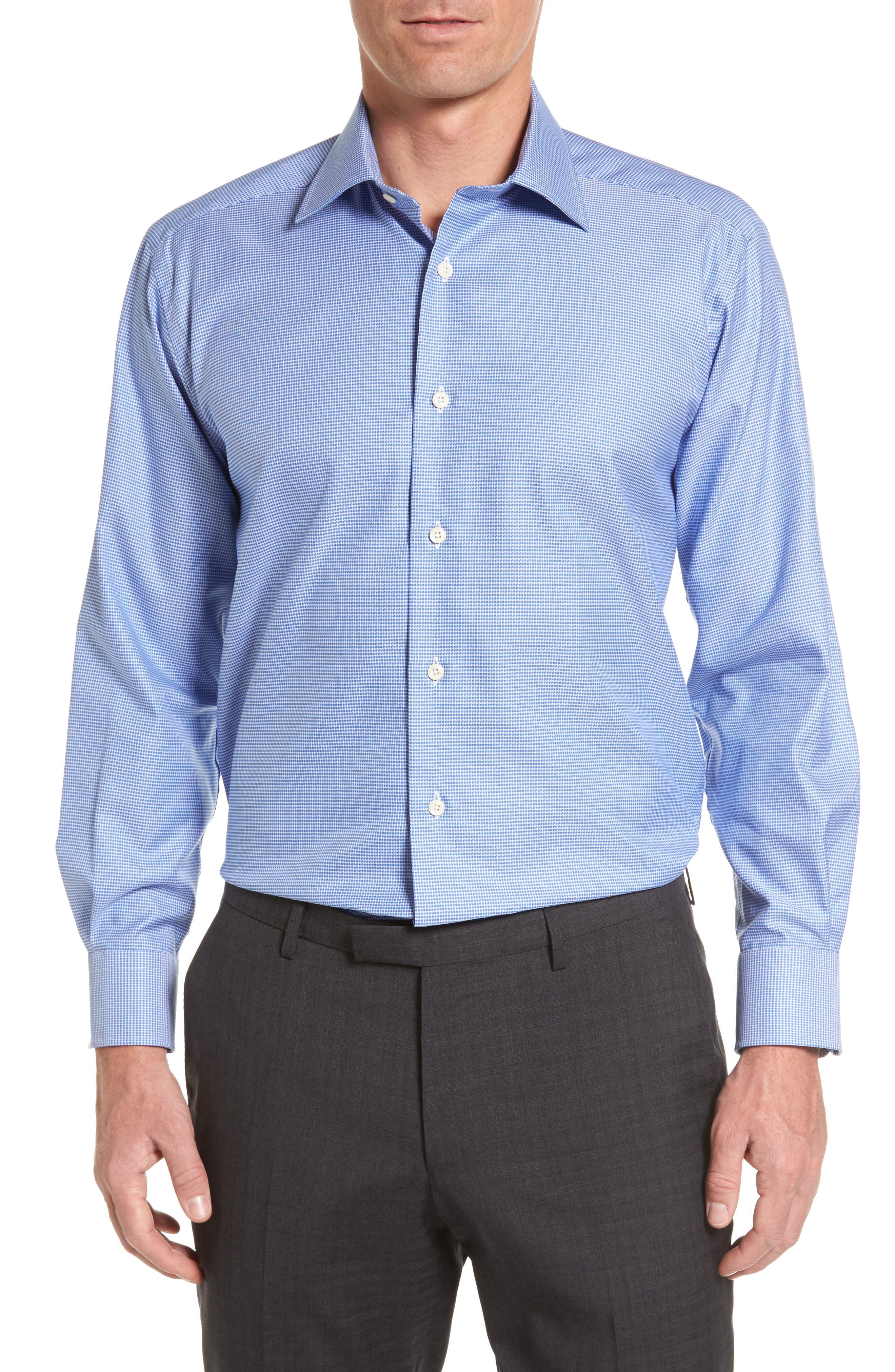 Main Image - David Donahue Regular Fit Houndstooth Dress Shirt