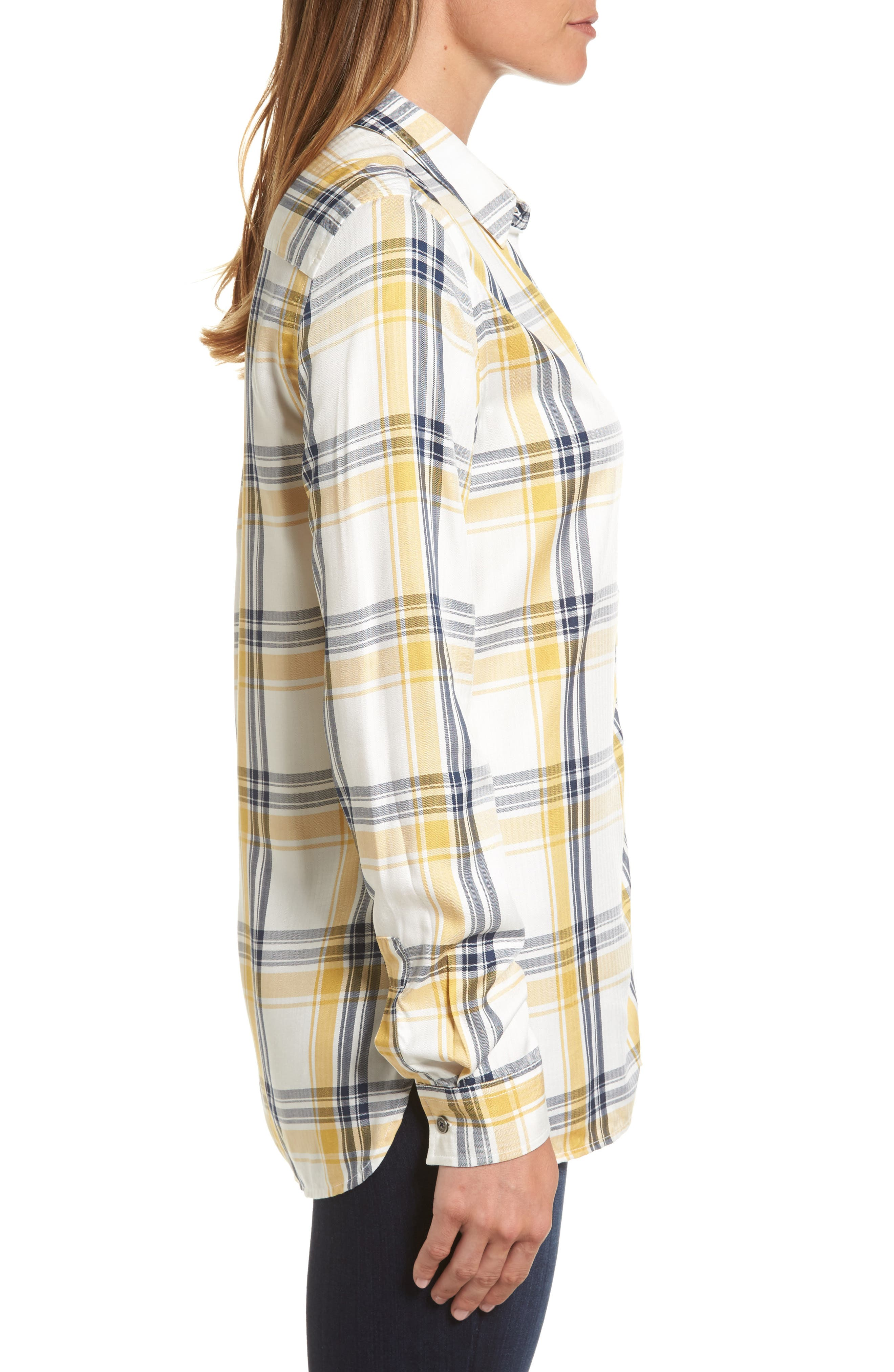 Newton Plaid Shirt,                             Alternate thumbnail 3, color,                             Sun Gold