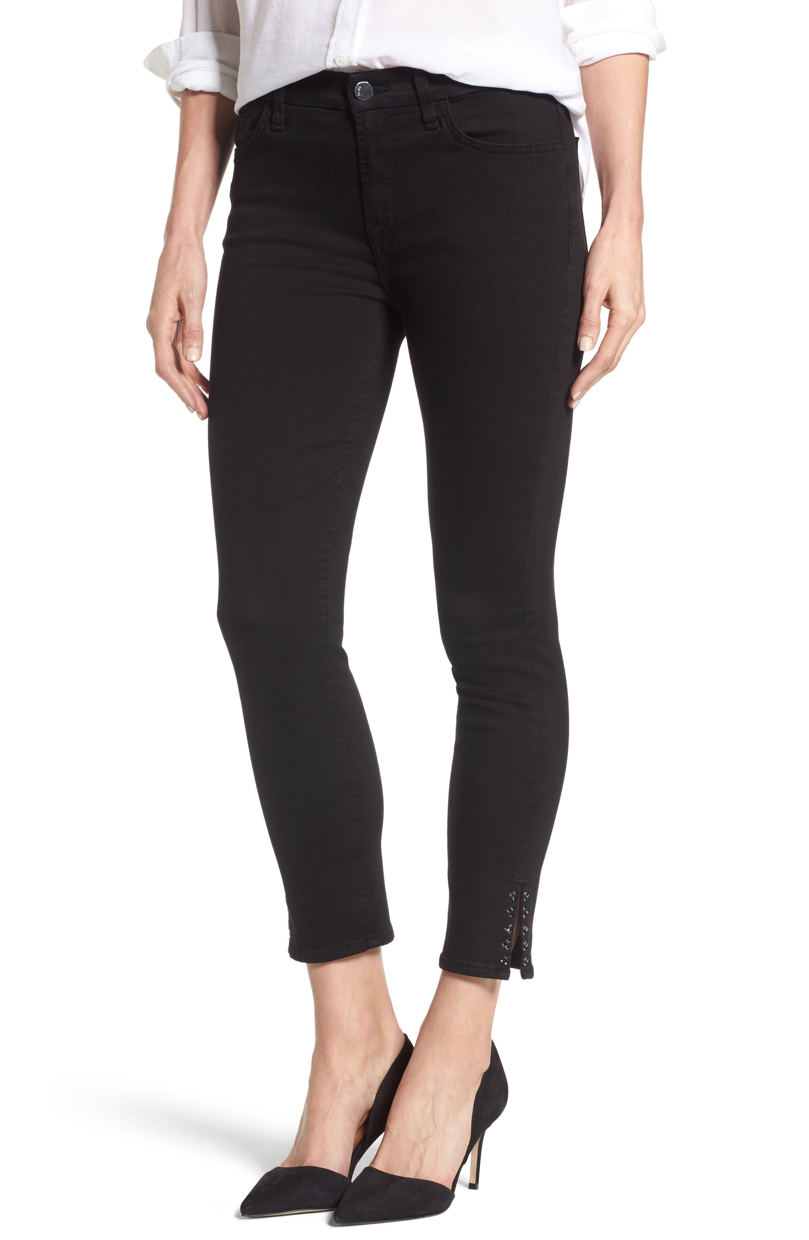 Jen7 Embellished Side Slit Skinny Ankle Jeans