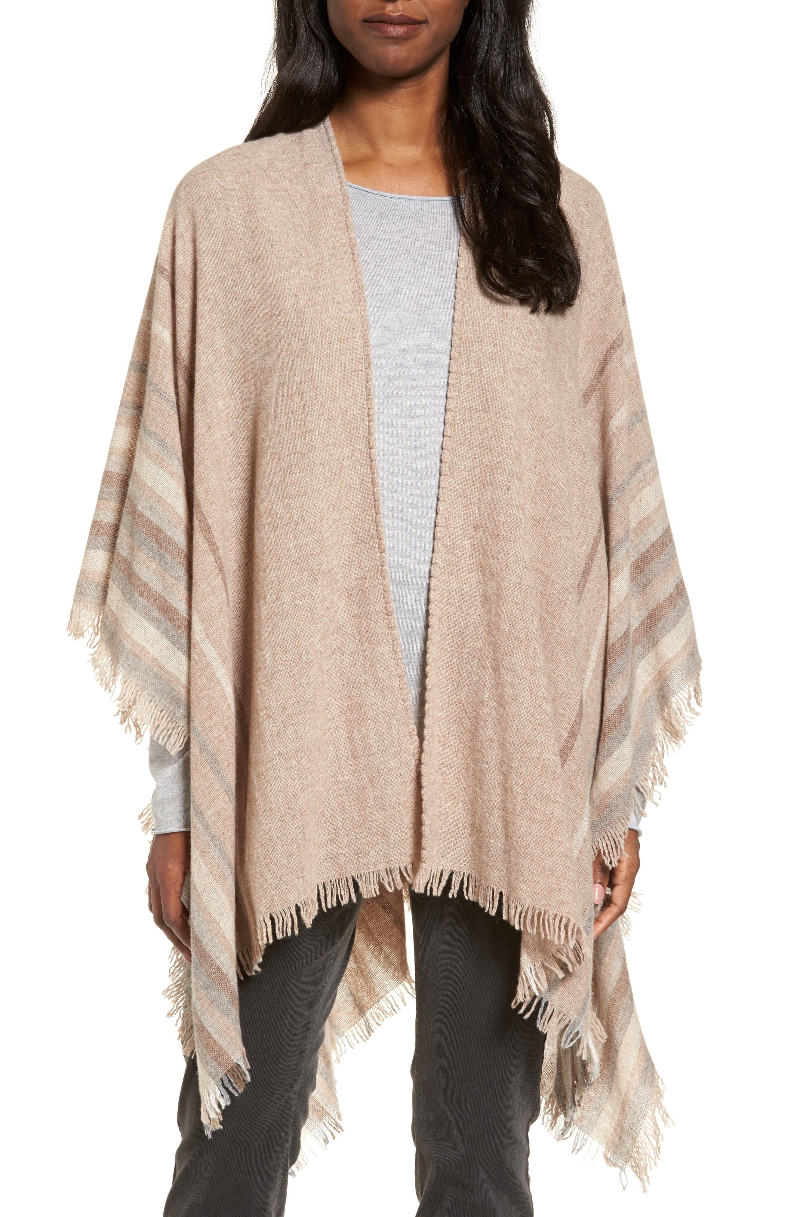 Main Image - Eileen Fisher Stripe Wool Blend Poncho Wrap