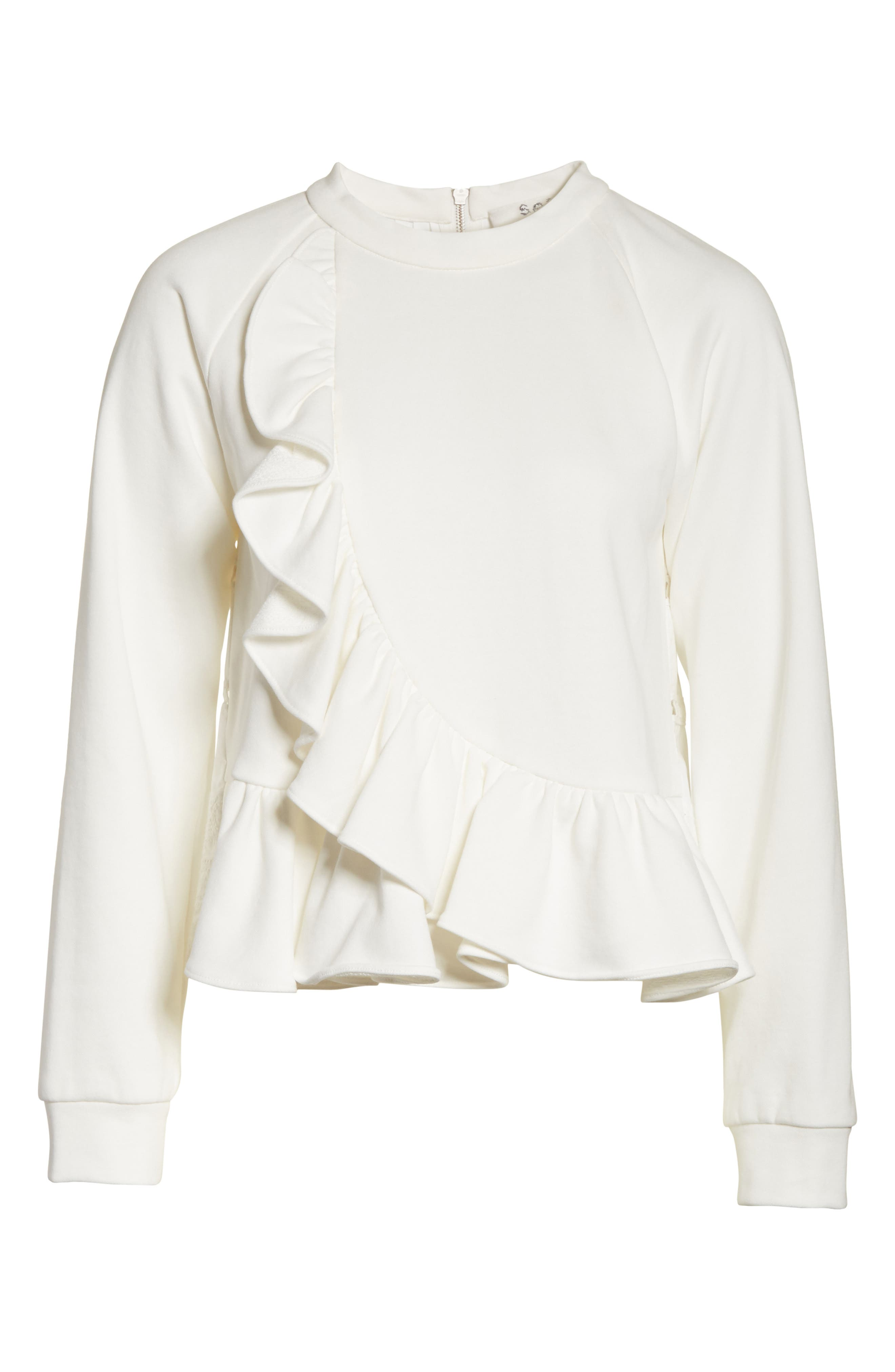 Ruffle Crop Sweatshirt,                             Alternate thumbnail 6, color,                             Cream