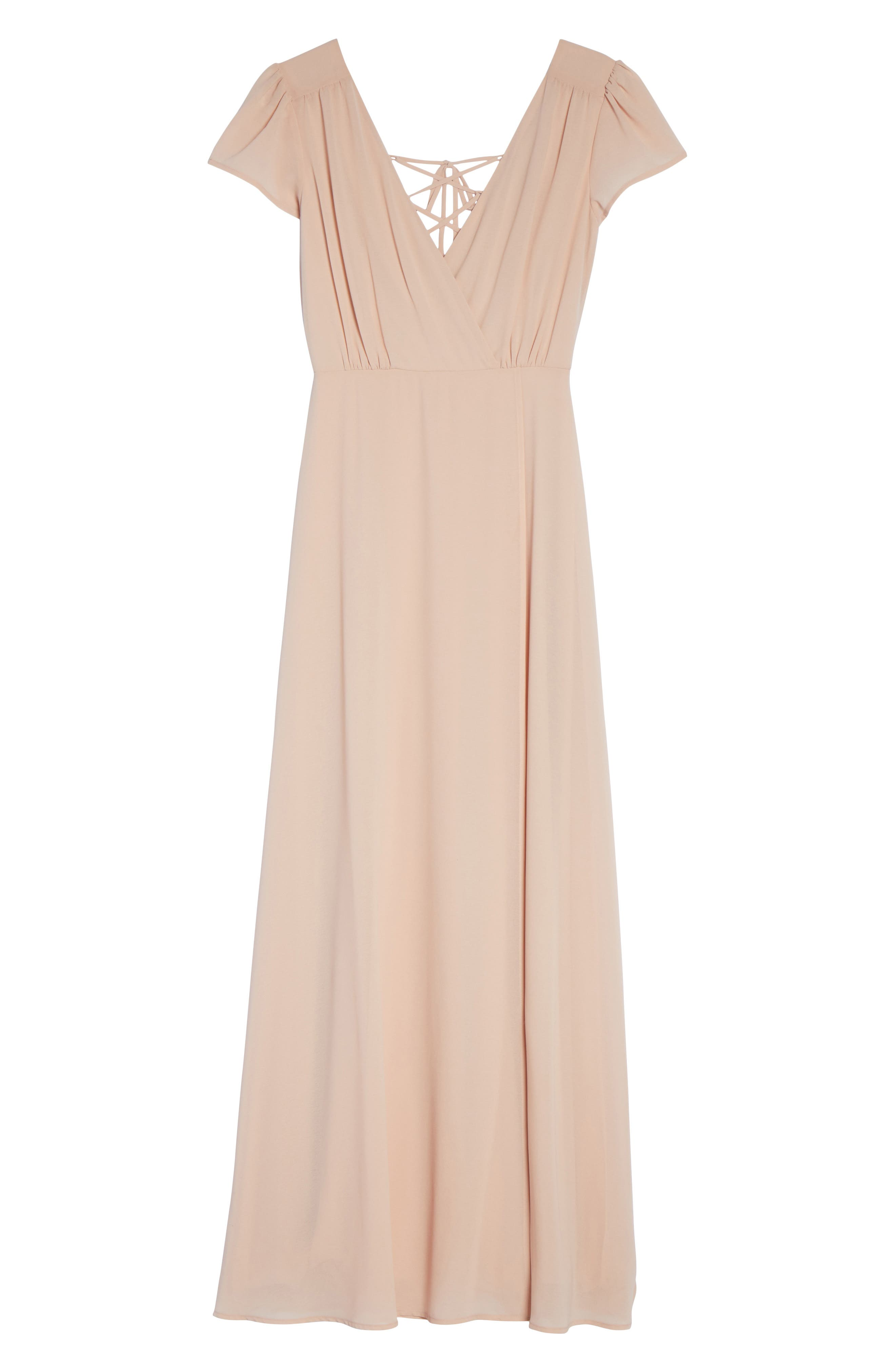 Lace-Up Back Chiffon Gown,                             Alternate thumbnail 7, color,                             Nude Blush