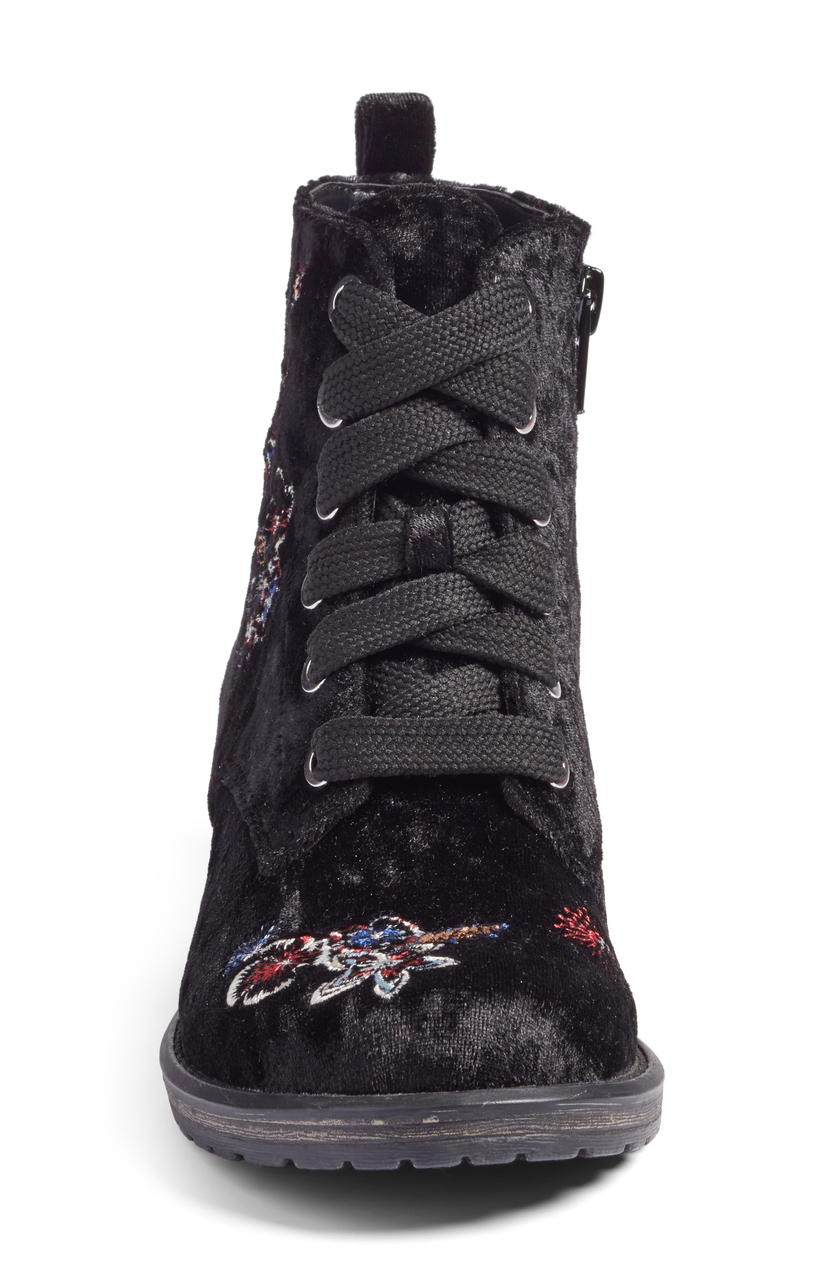 Lilla Combat Boot,                             Alternate thumbnail 4, color,                             Black Multi Velvet