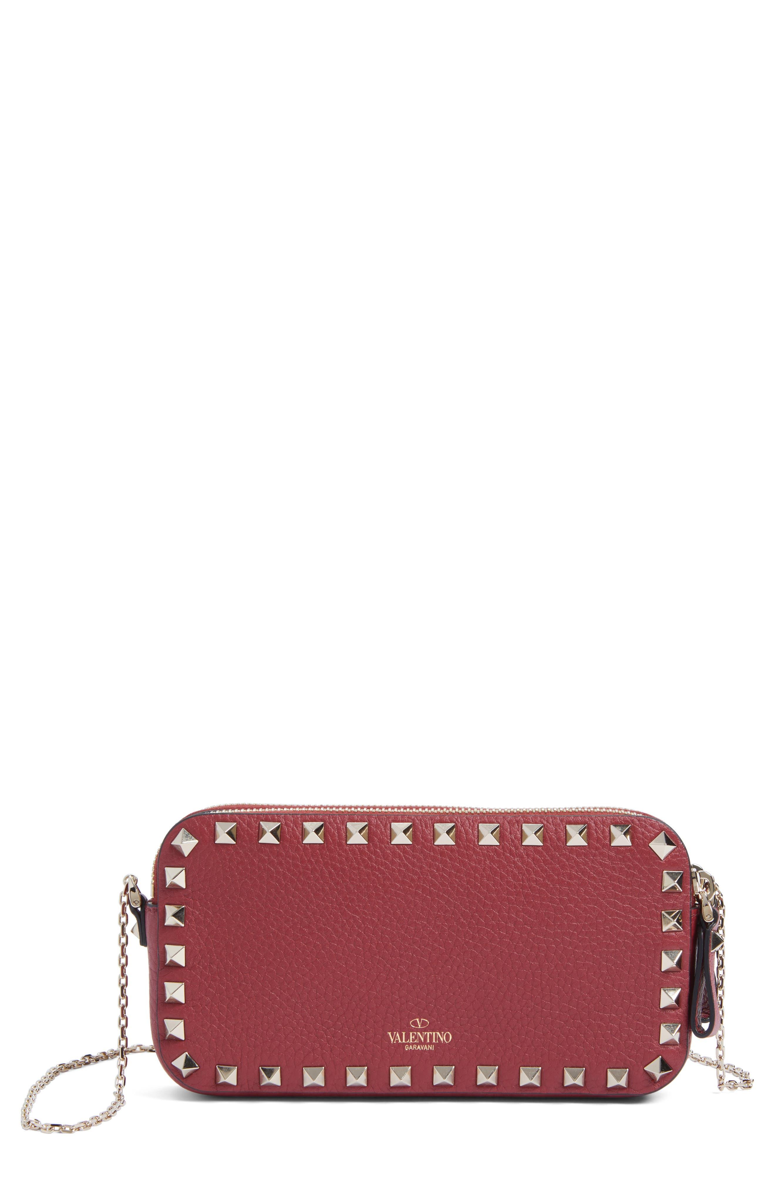 Rockstud Leather Crossbody Bag,                         Main,                         color, Rubin
