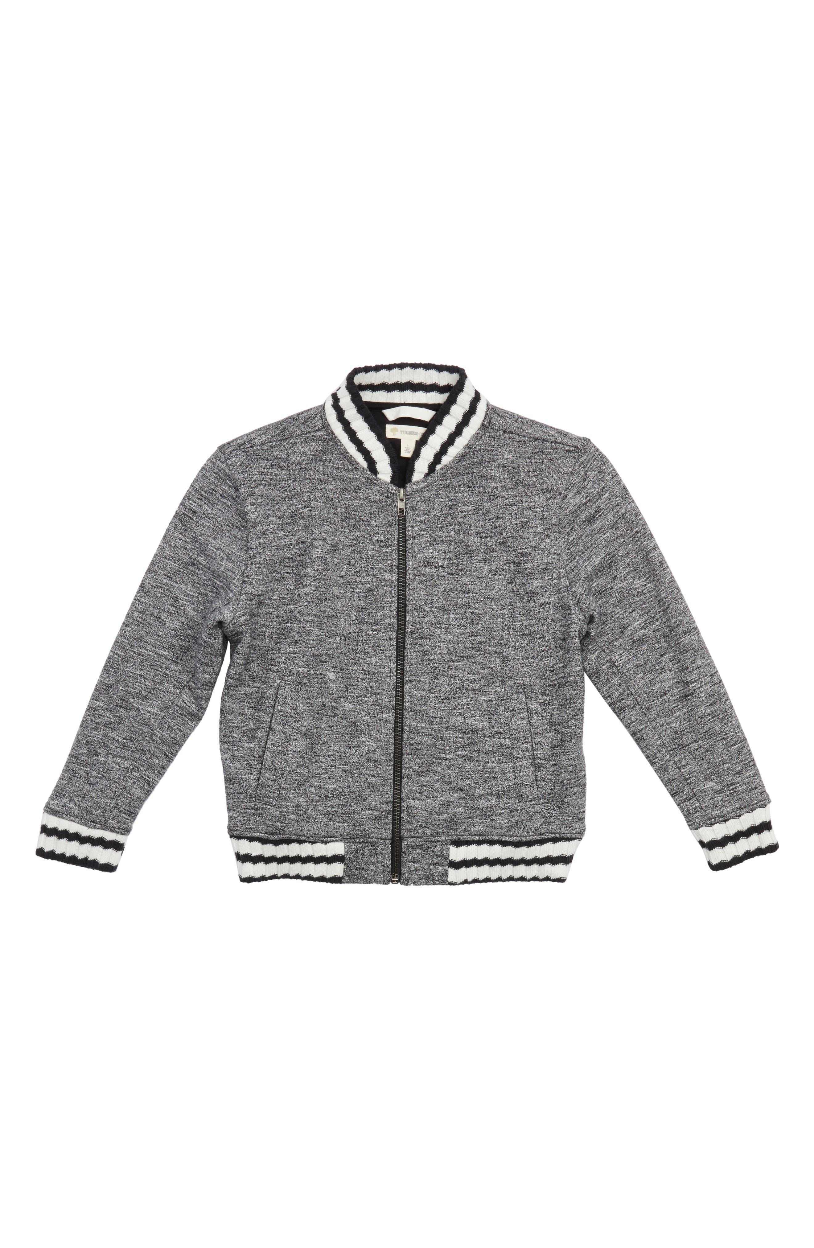 Mélange Varsity Jacket,                         Main,                         color, Black- White