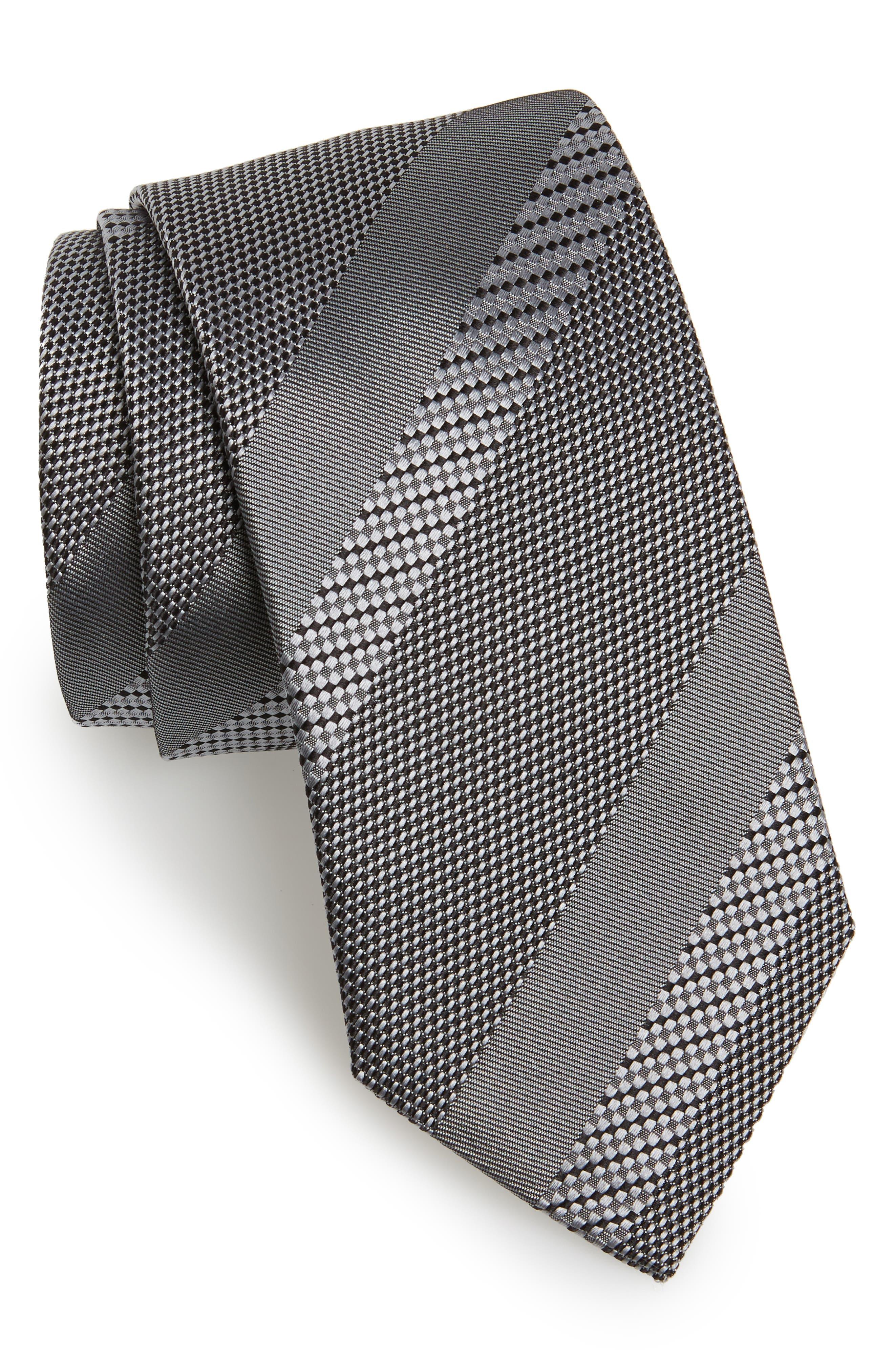 Stripe Silk Tie,                         Main,                         color, Open Grey