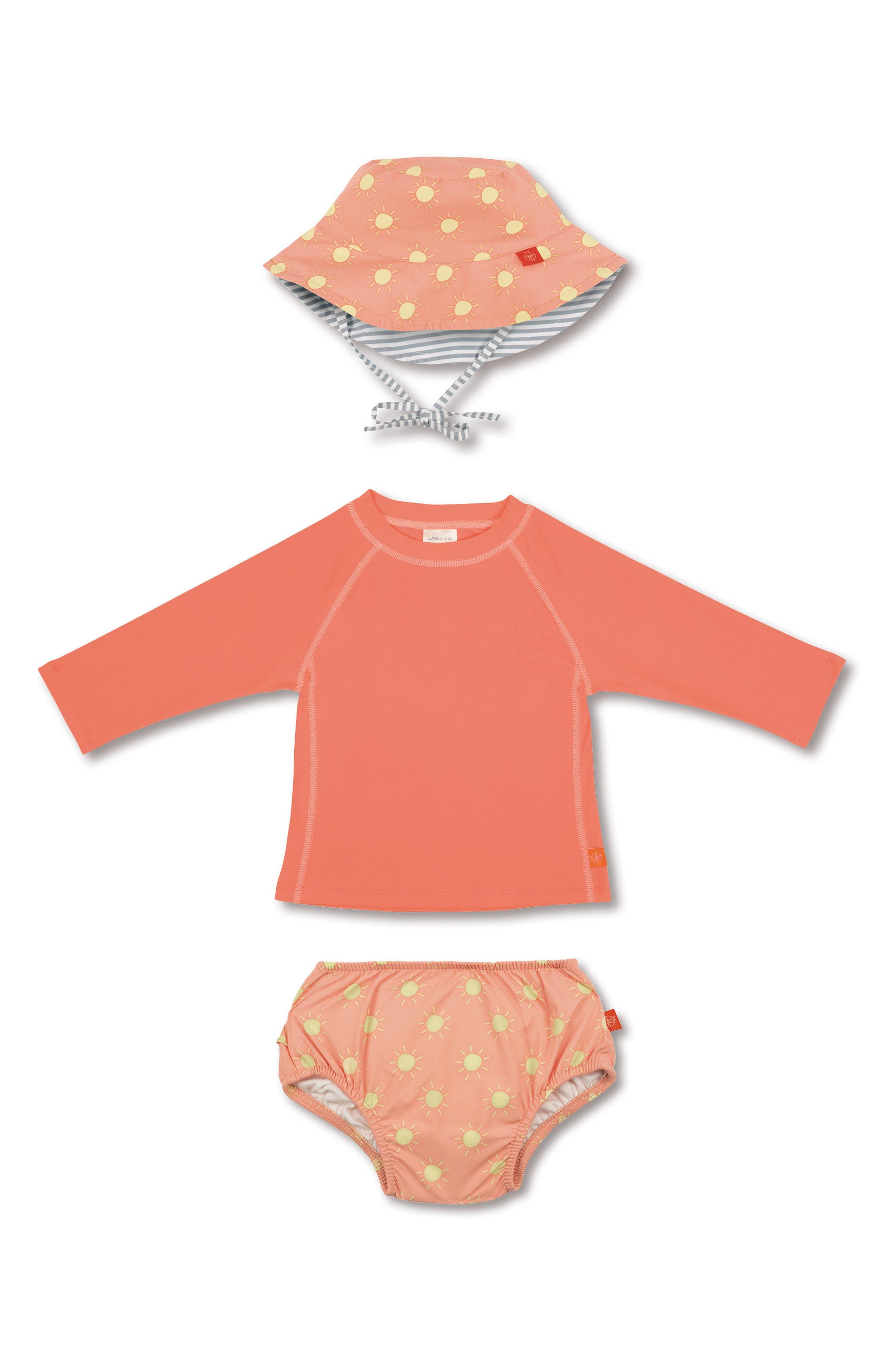 Lassig Two-Piece Rashguard Swimsuit & Hat Set,                         Main,                         color, Sun