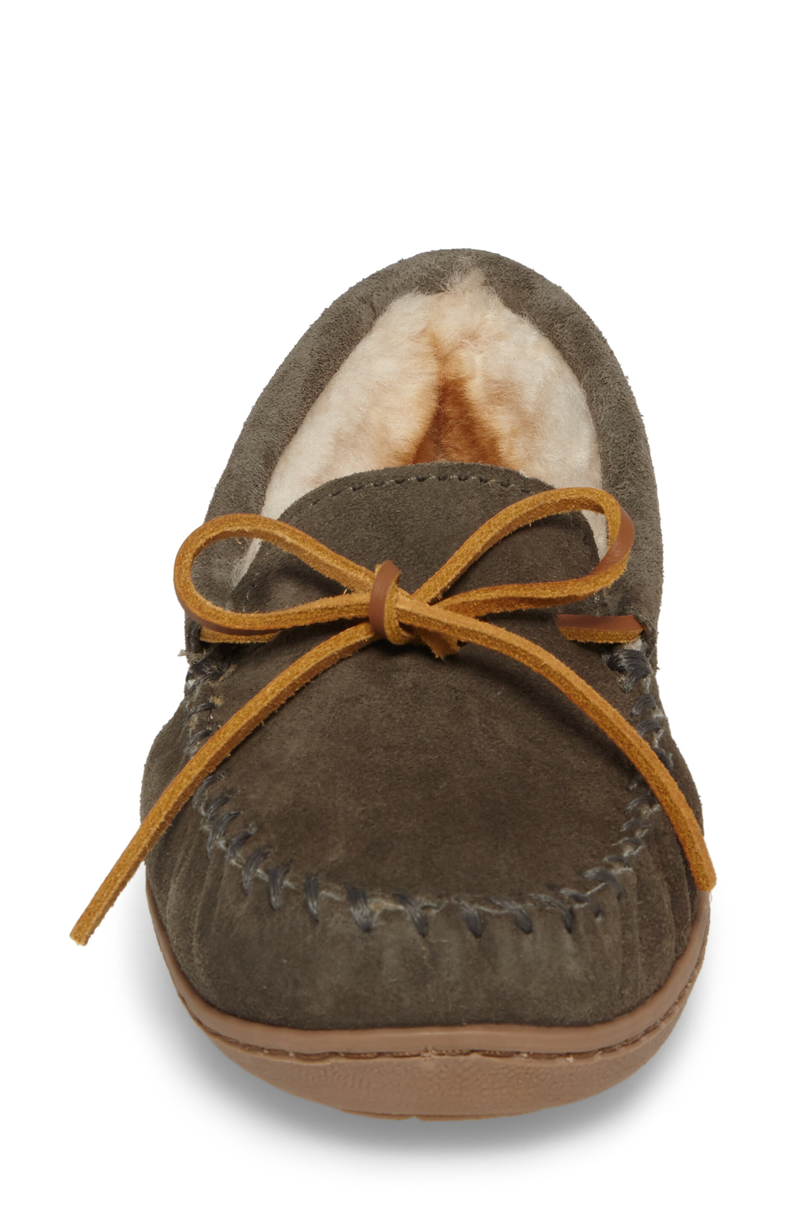 Genuine Shearling Hard Sole Moccasin Indoor/Outdoor Slipper,                             Alternate thumbnail 4, color,                             Grey