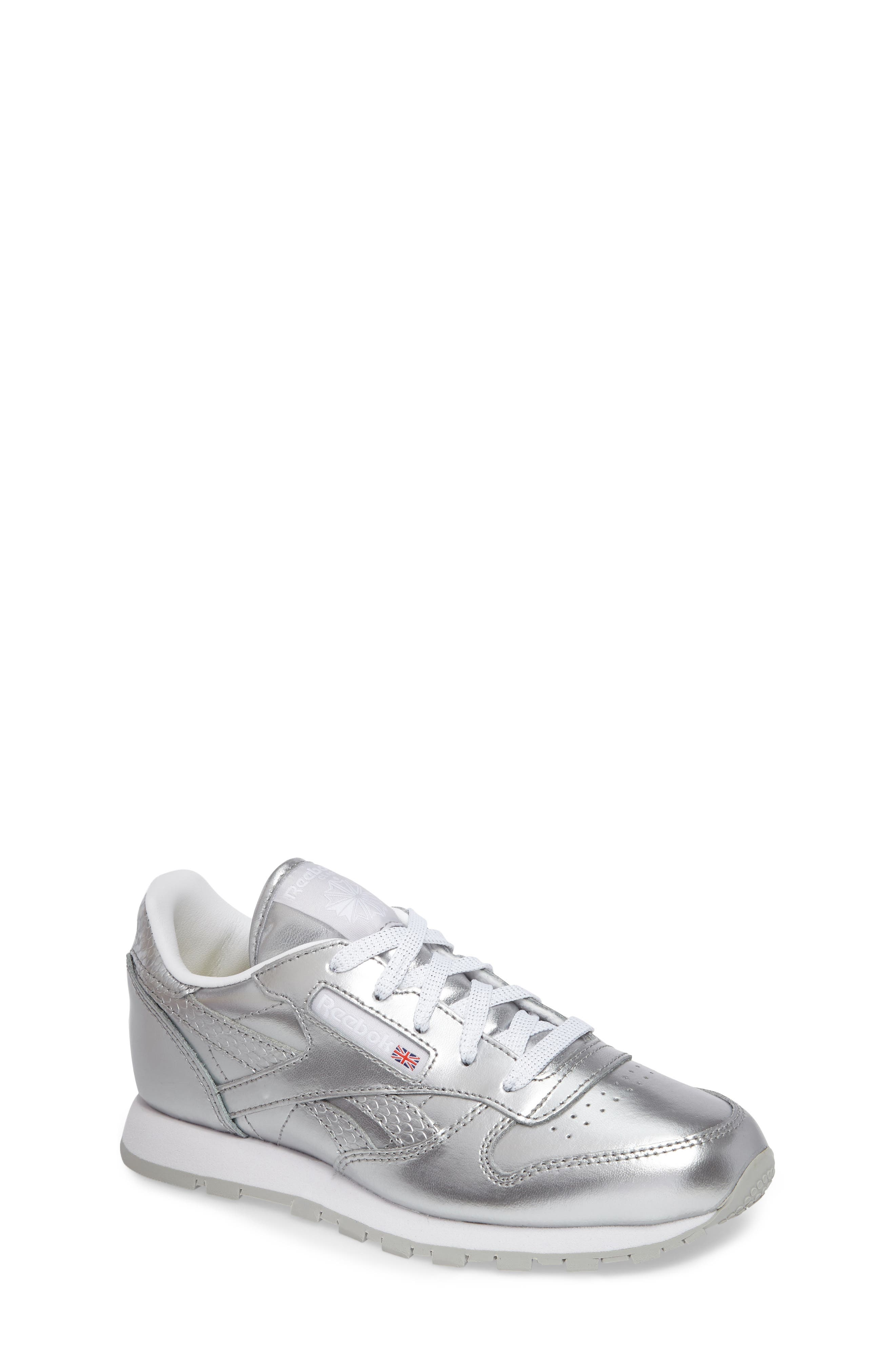 Classic Metallic Sneaker,                             Main thumbnail 1, color,                             Silver/ White