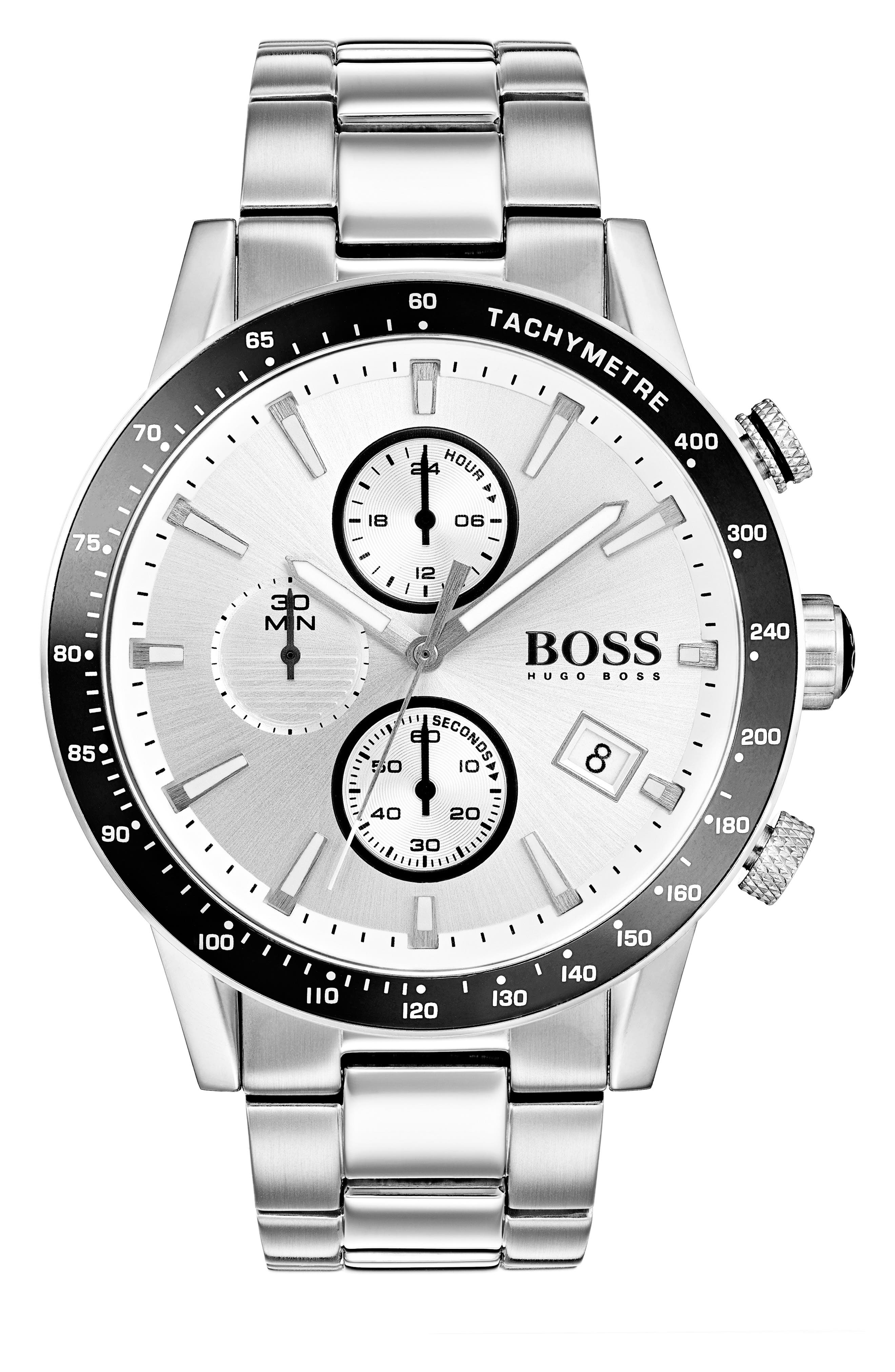 Rafale Chronograph Bracelet Watch, 45mm,                         Main,                         color, Silver/ Silver