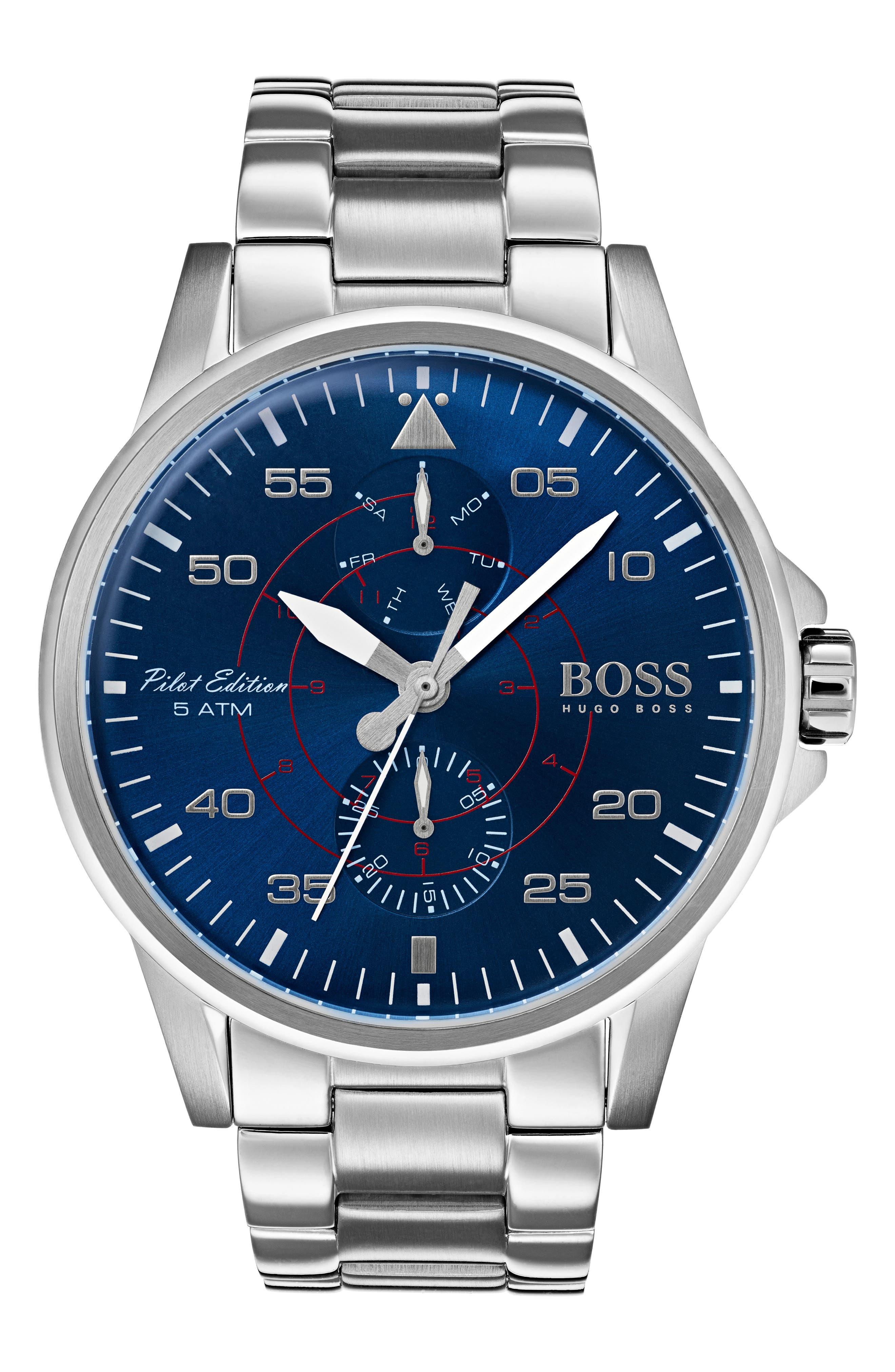 Main Image - BOSS Aviator Multifunction Bracelet Watch, 44mm