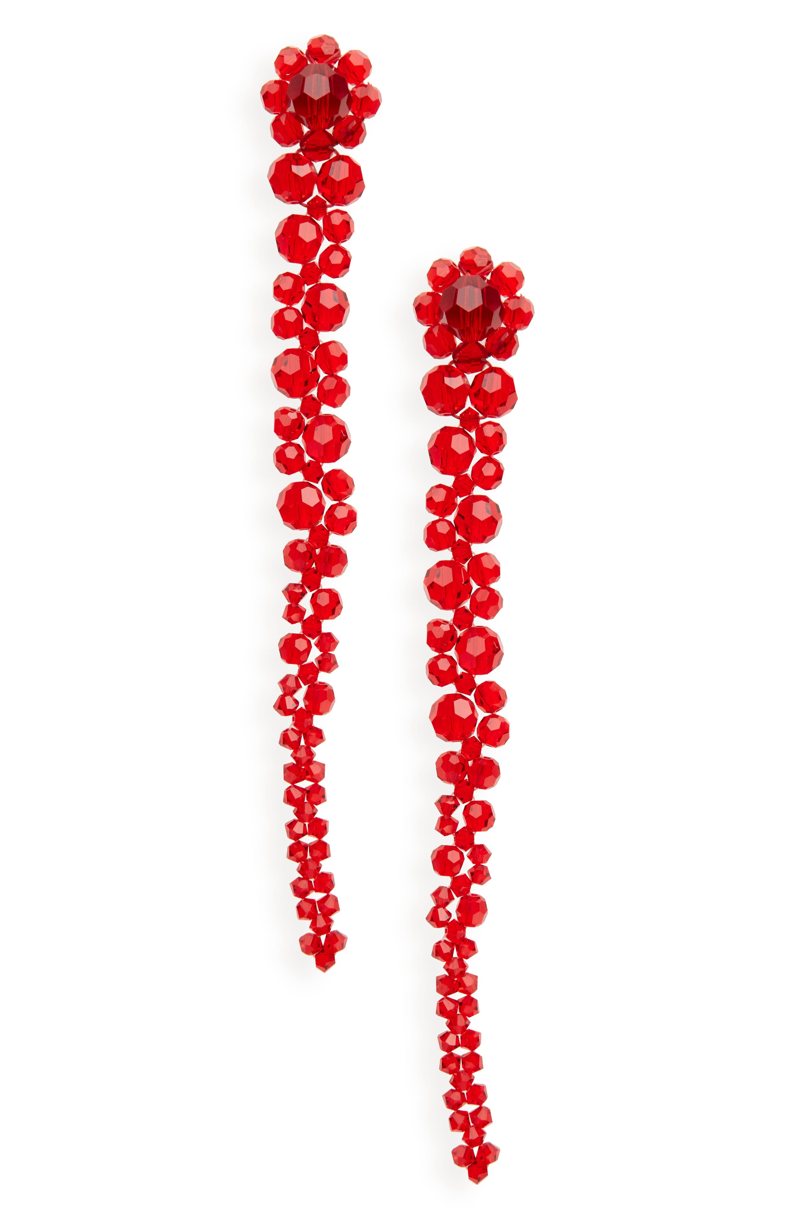 Beaded Drop Earrings,                         Main,                         color, Red