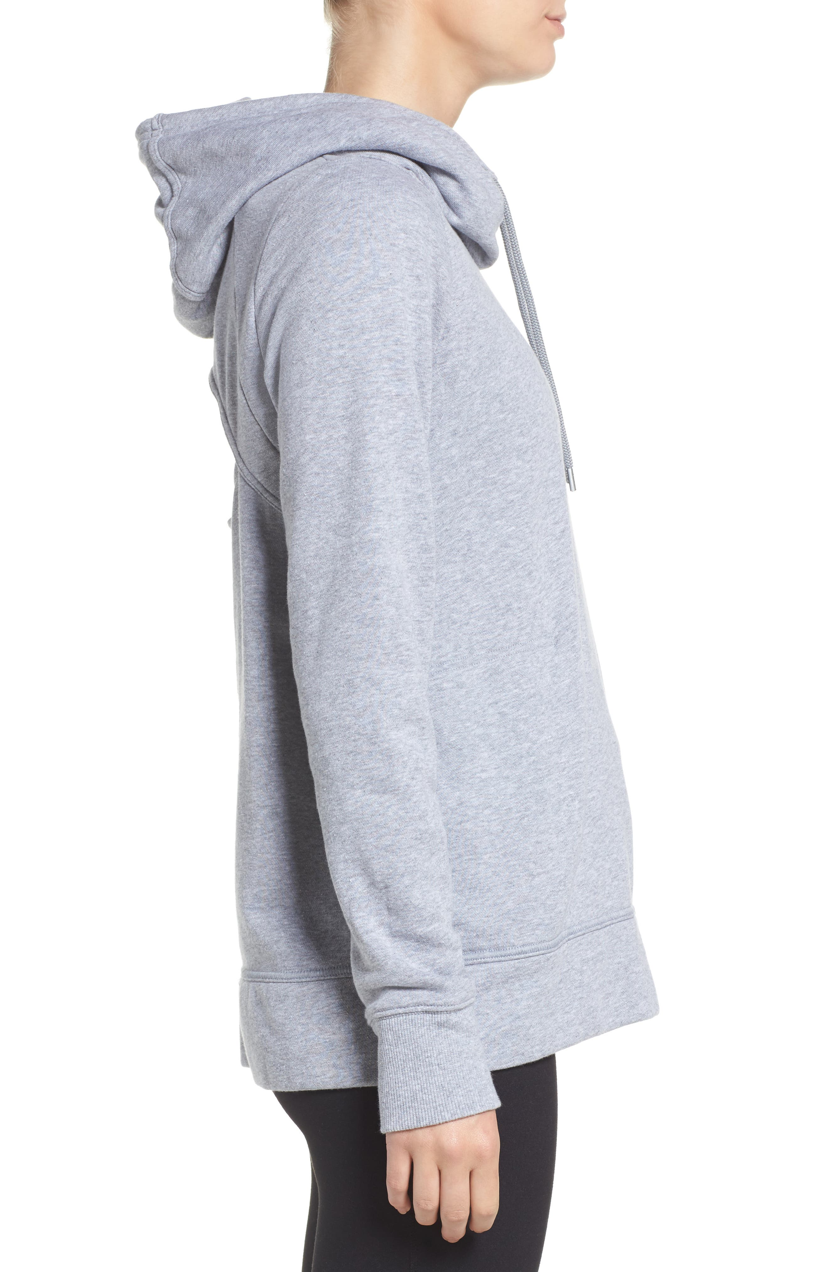 Cutout Back Hoodie,                             Alternate thumbnail 4, color,                             True Gray Heather/ Rhino Grey
