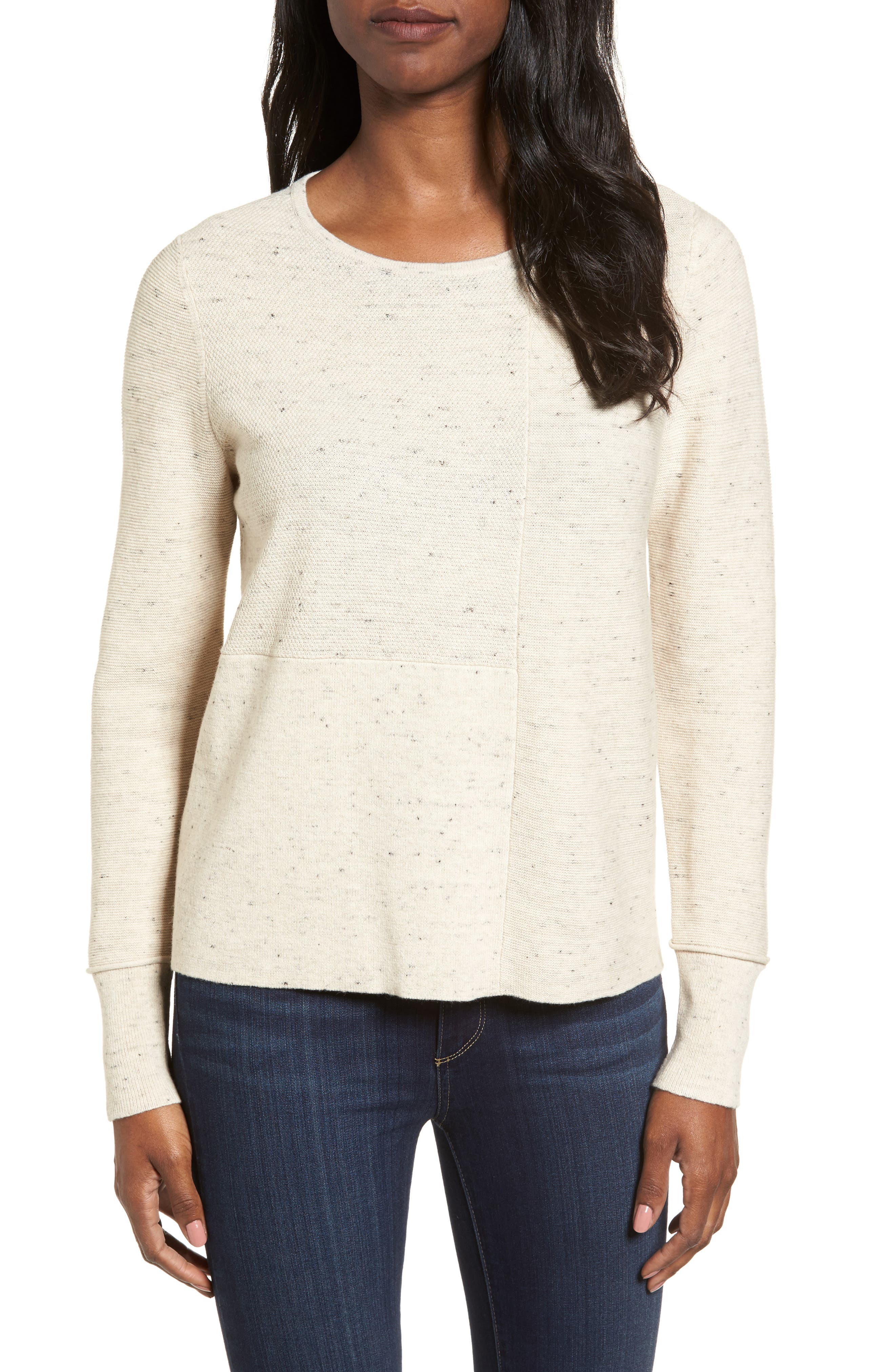 Alternate Image 1 Selected - Eileen Fisher Mixed Stitch Sweater