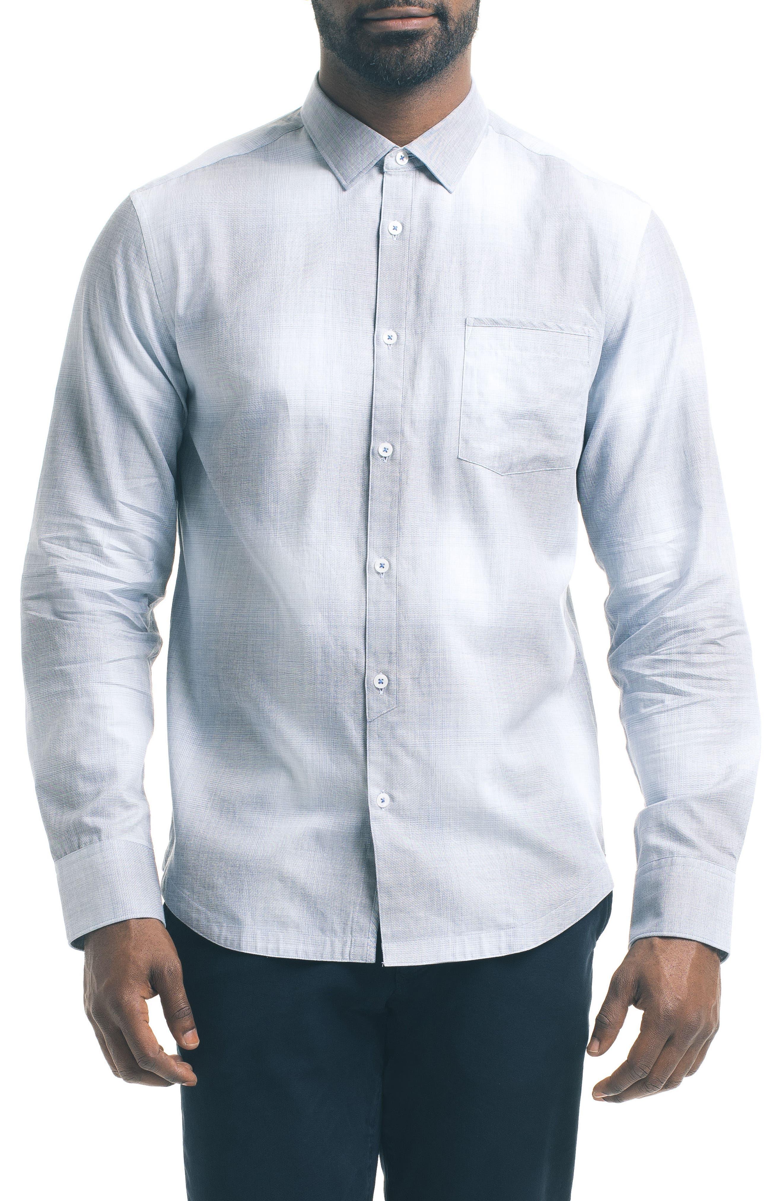 Slim Fit Ombré Plaid Sport Shirt,                         Main,                         color, Blue