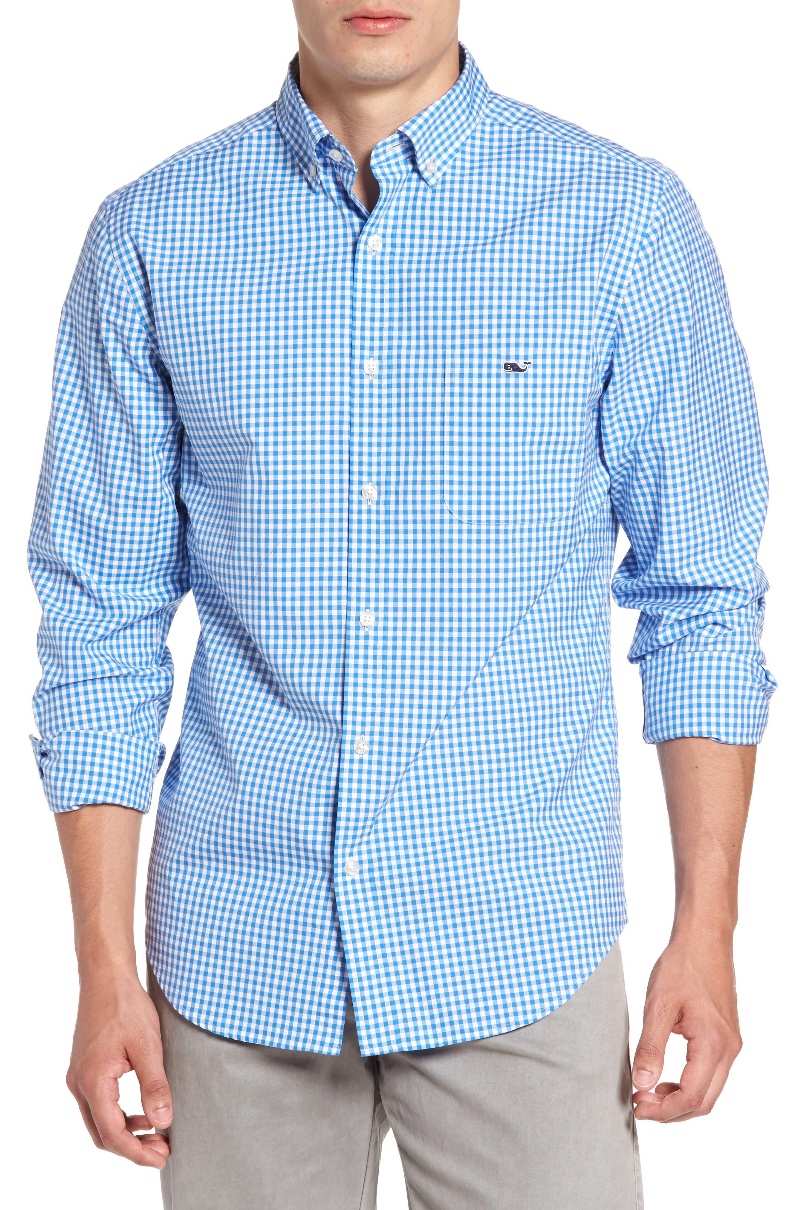 Seafloor Tucker Gingham Sport Shirt,                         Main,                         color, Hull Blue