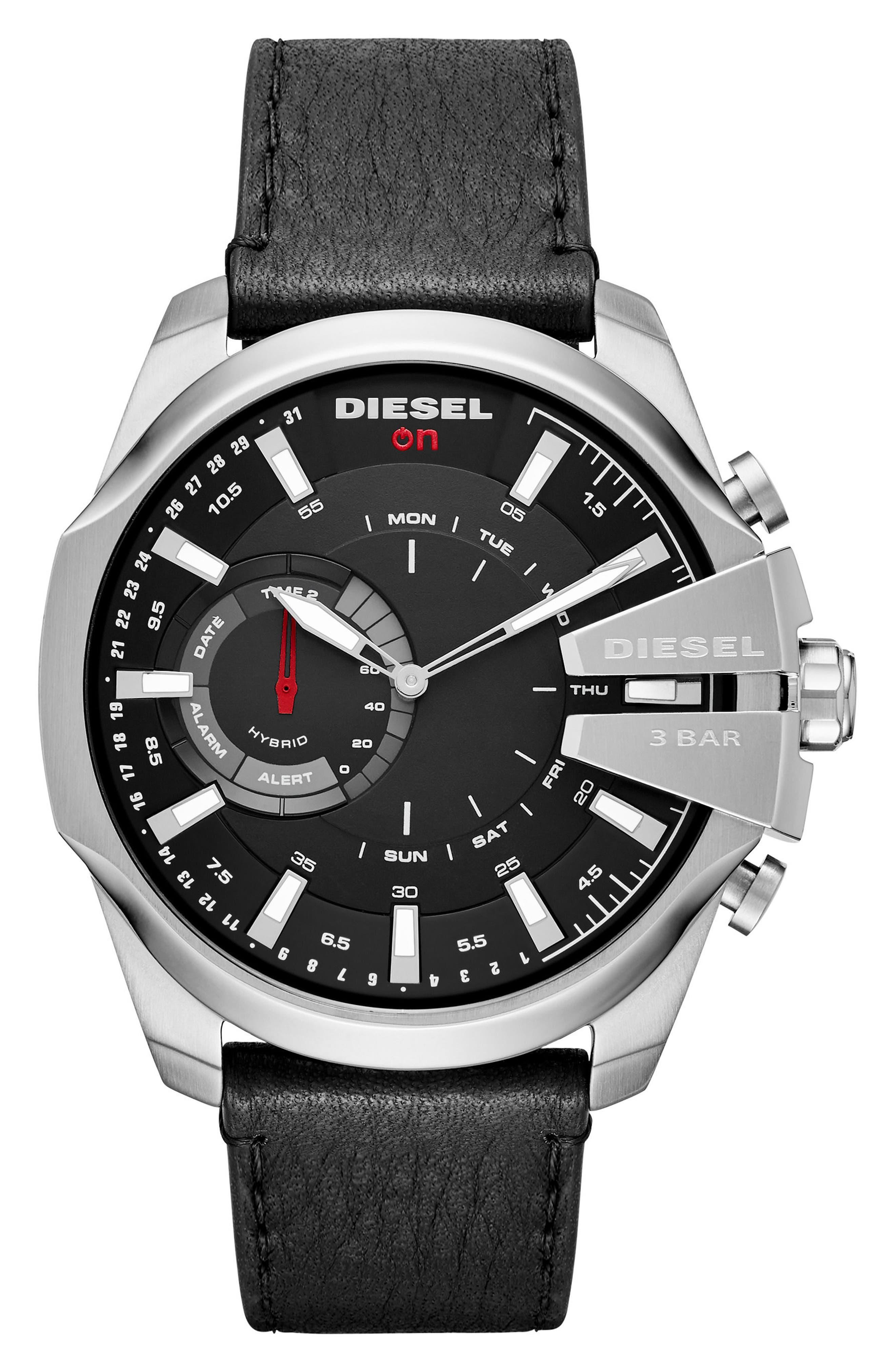 Main Image - DIESEL® Mega Chief Hybrid Leather Strap Smartwatch, 48mm x 55mm