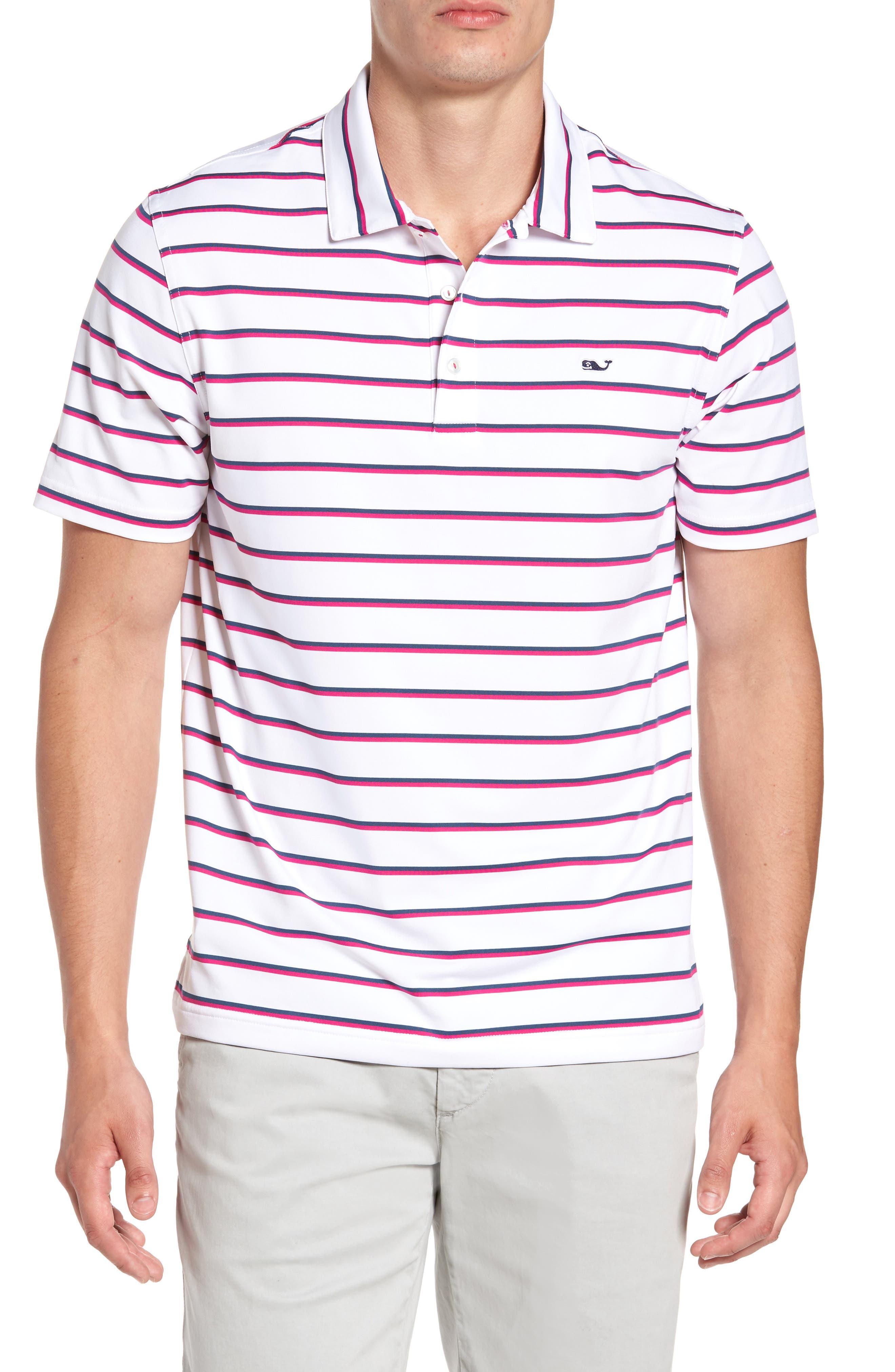 Eshman Stripe Polo,                         Main,                         color, White Cap