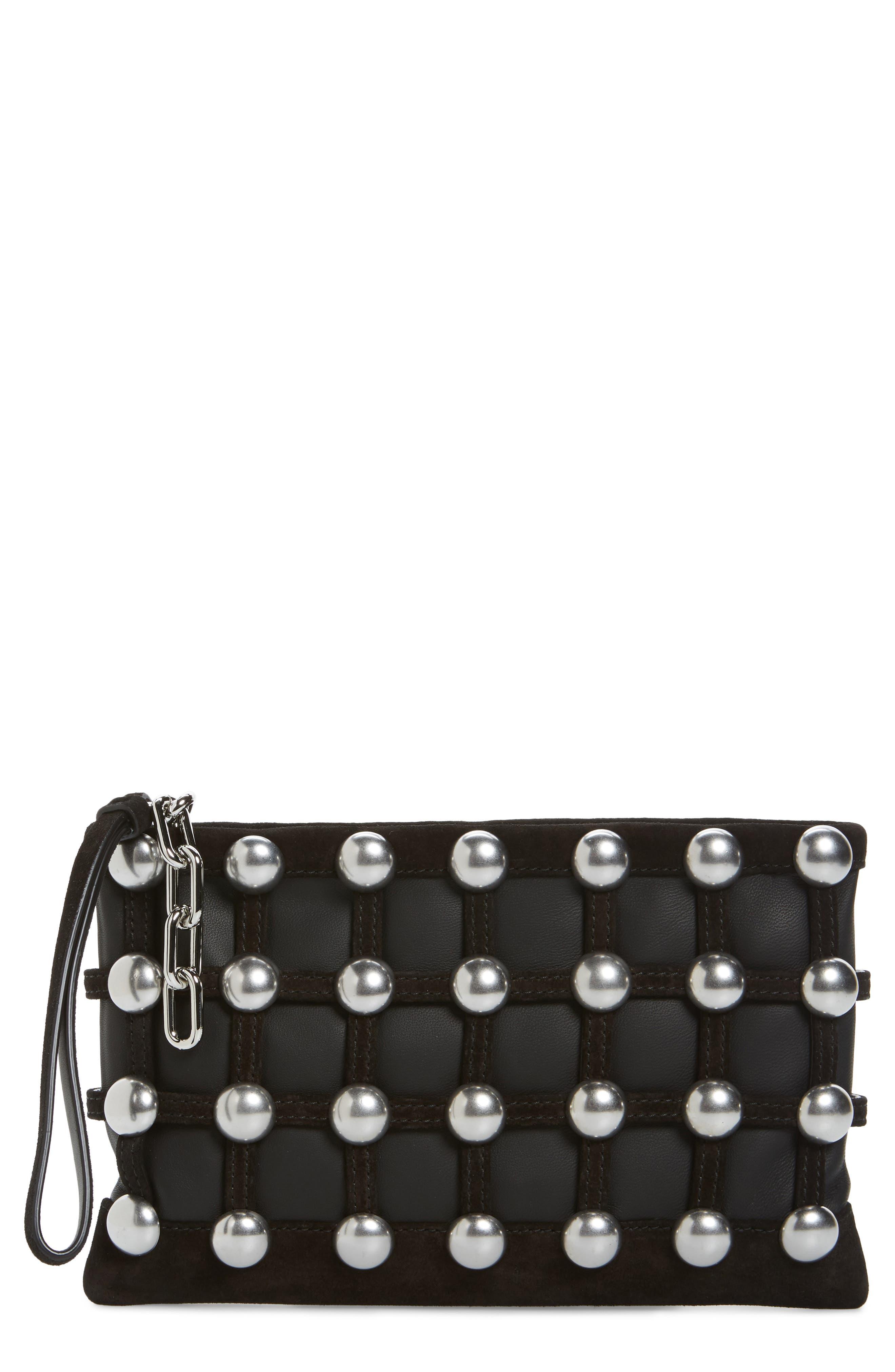 Main Image - Alexander Wang Roxy Studded Cage Leather Wristlet