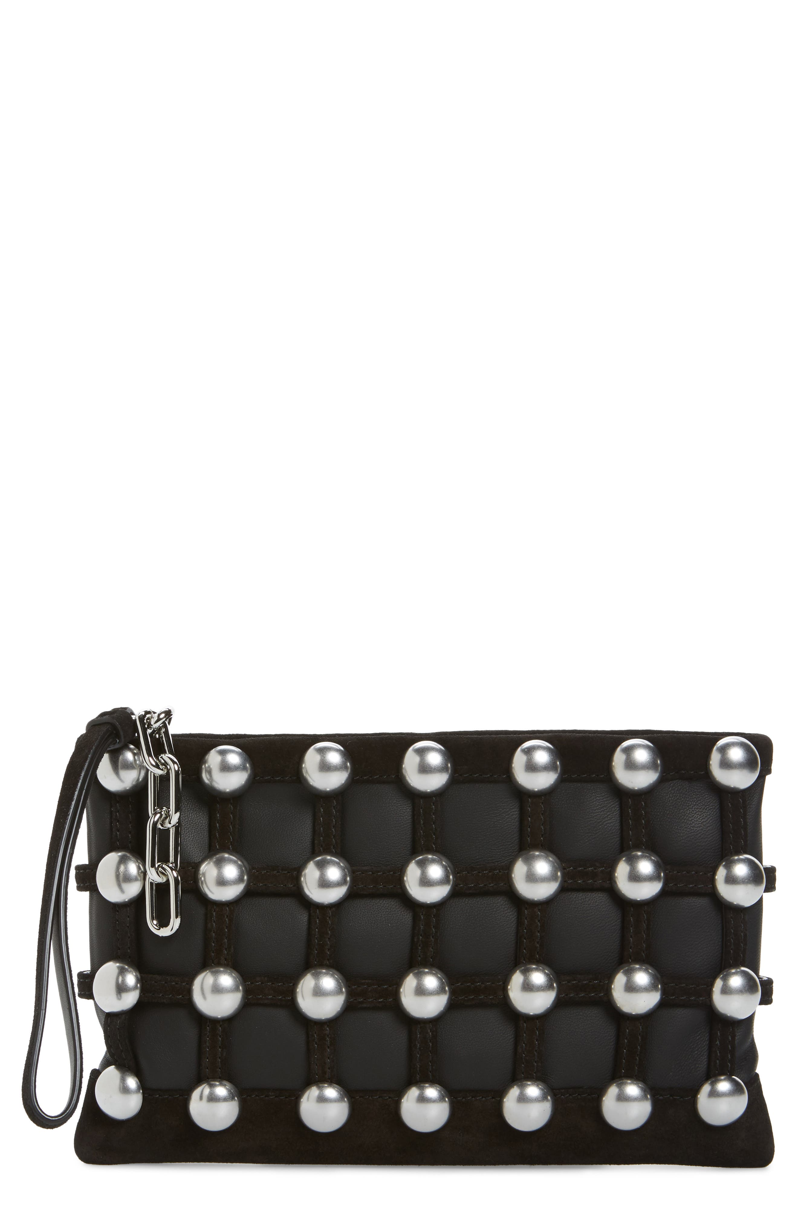 Roxy Studded Cage Leather Wristlet,                         Main,                         color, Black