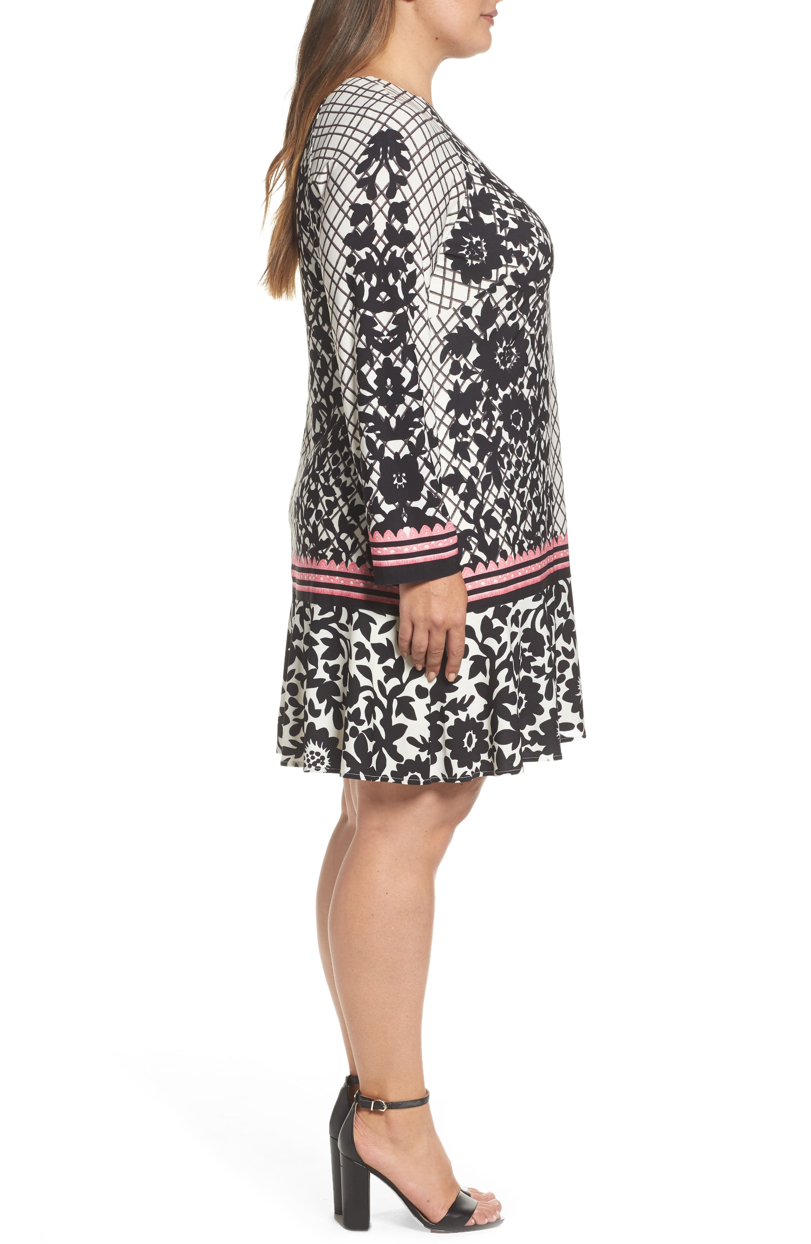 Lace Trim Shift Dress,                             Alternate thumbnail 4, color,                             Black/ Pink