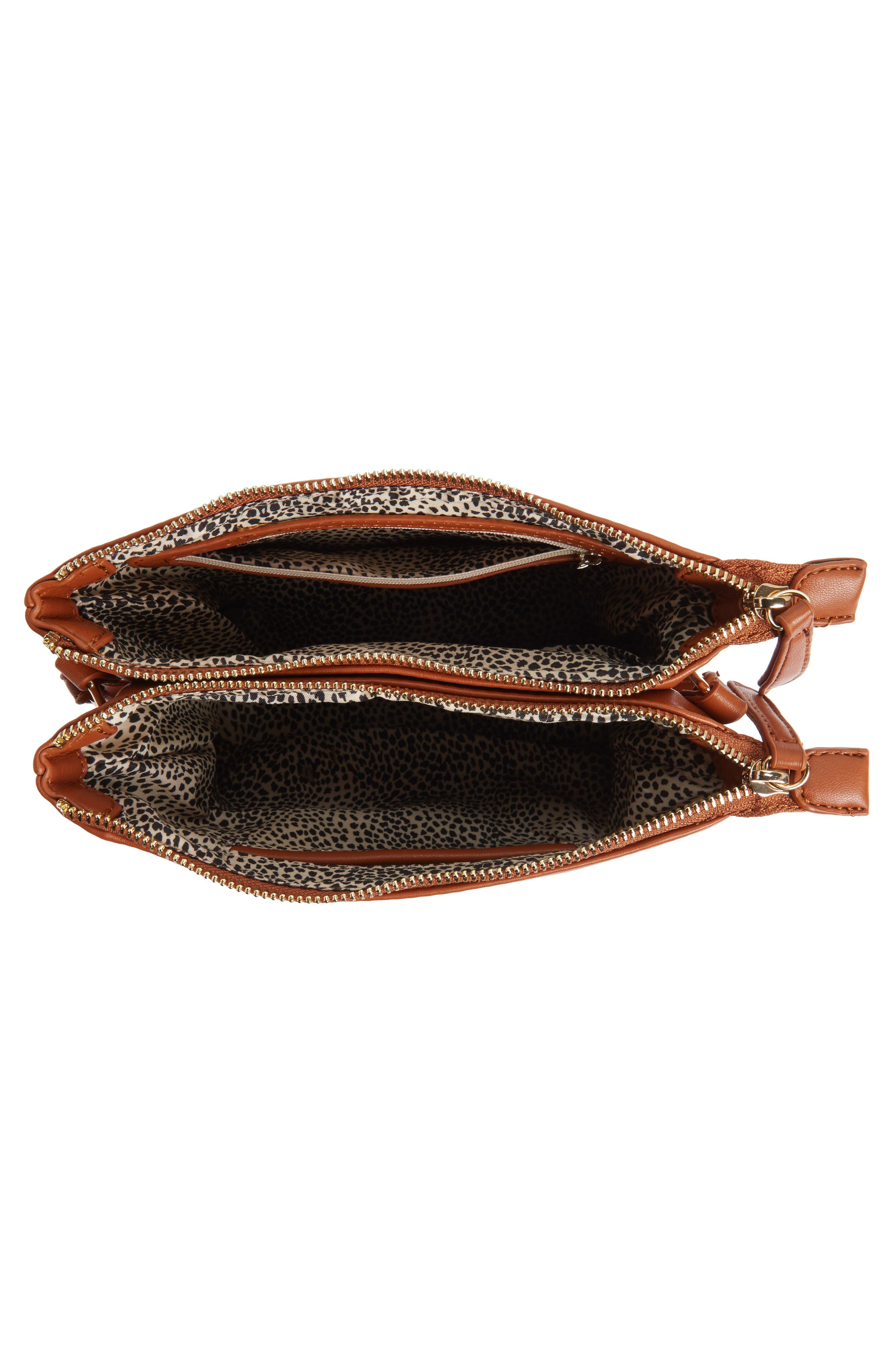 Madden Faux Leather Pouch Crossbody Bag,                             Alternate thumbnail 5, color,                             Cognac