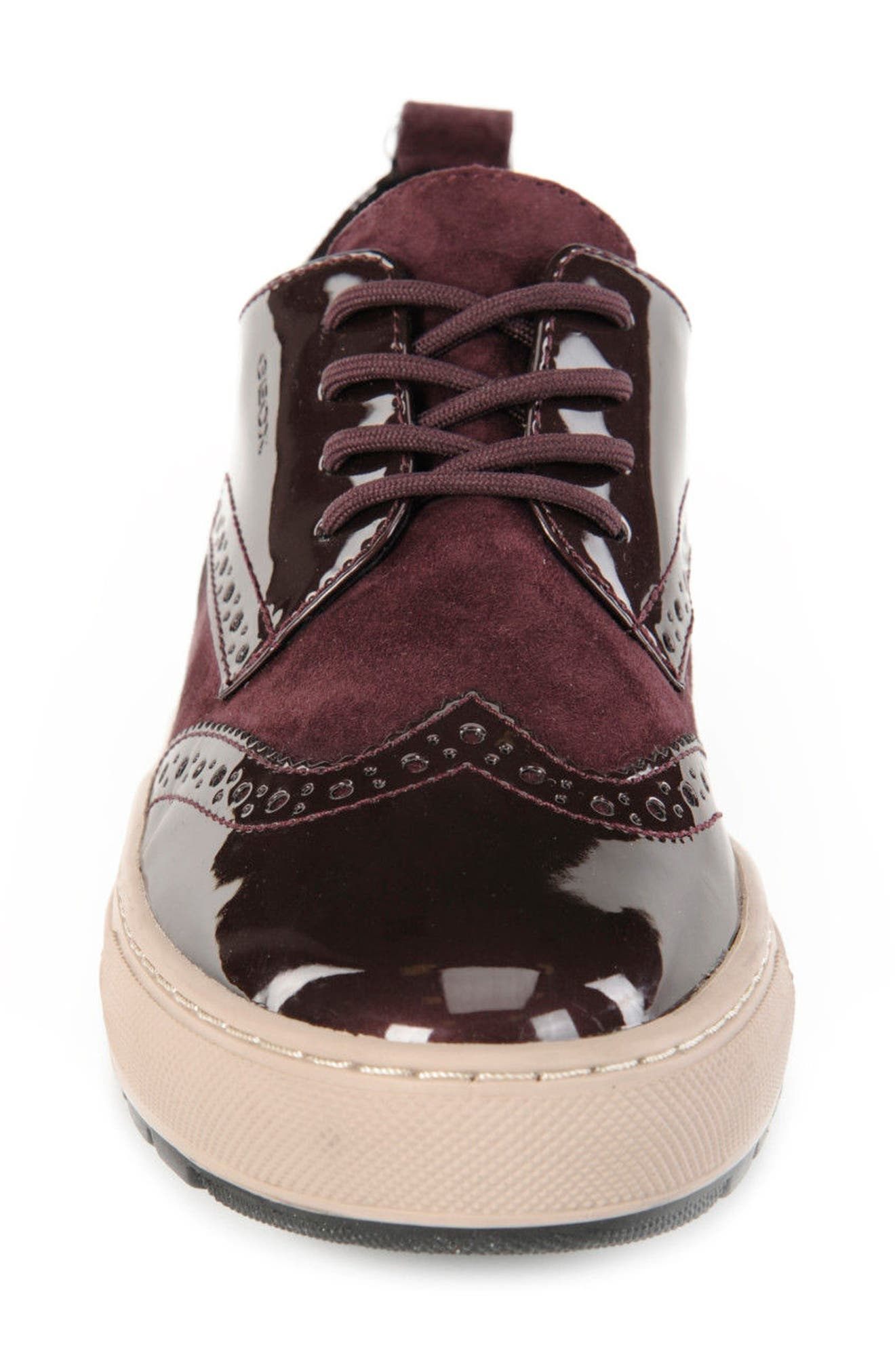 Breeda Oxford Sneaker,                             Alternate thumbnail 4, color,                             Prune Leather