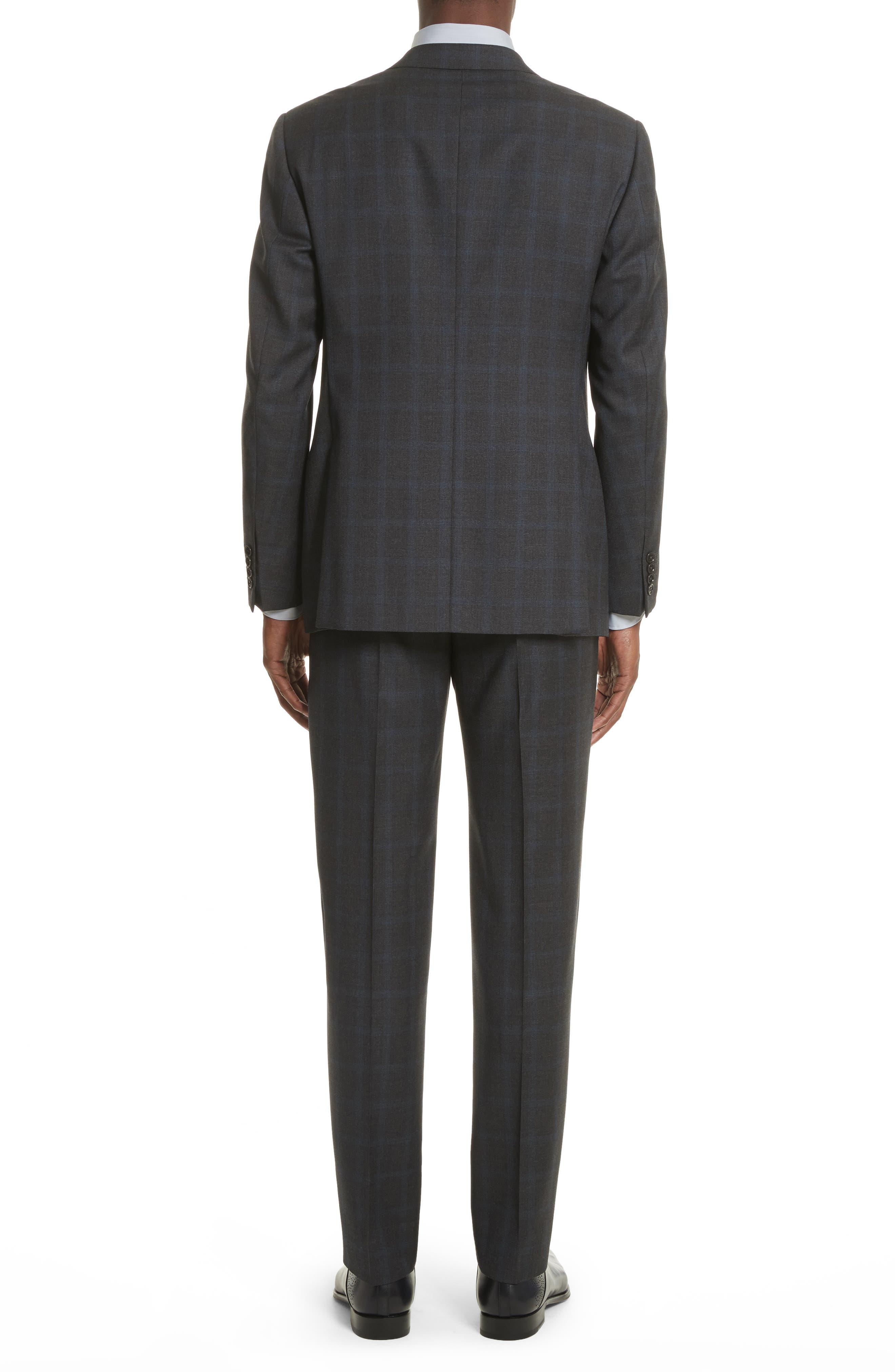 G-Line Trim Fit Plaid Wool Suit,                             Alternate thumbnail 2, color,                             Black