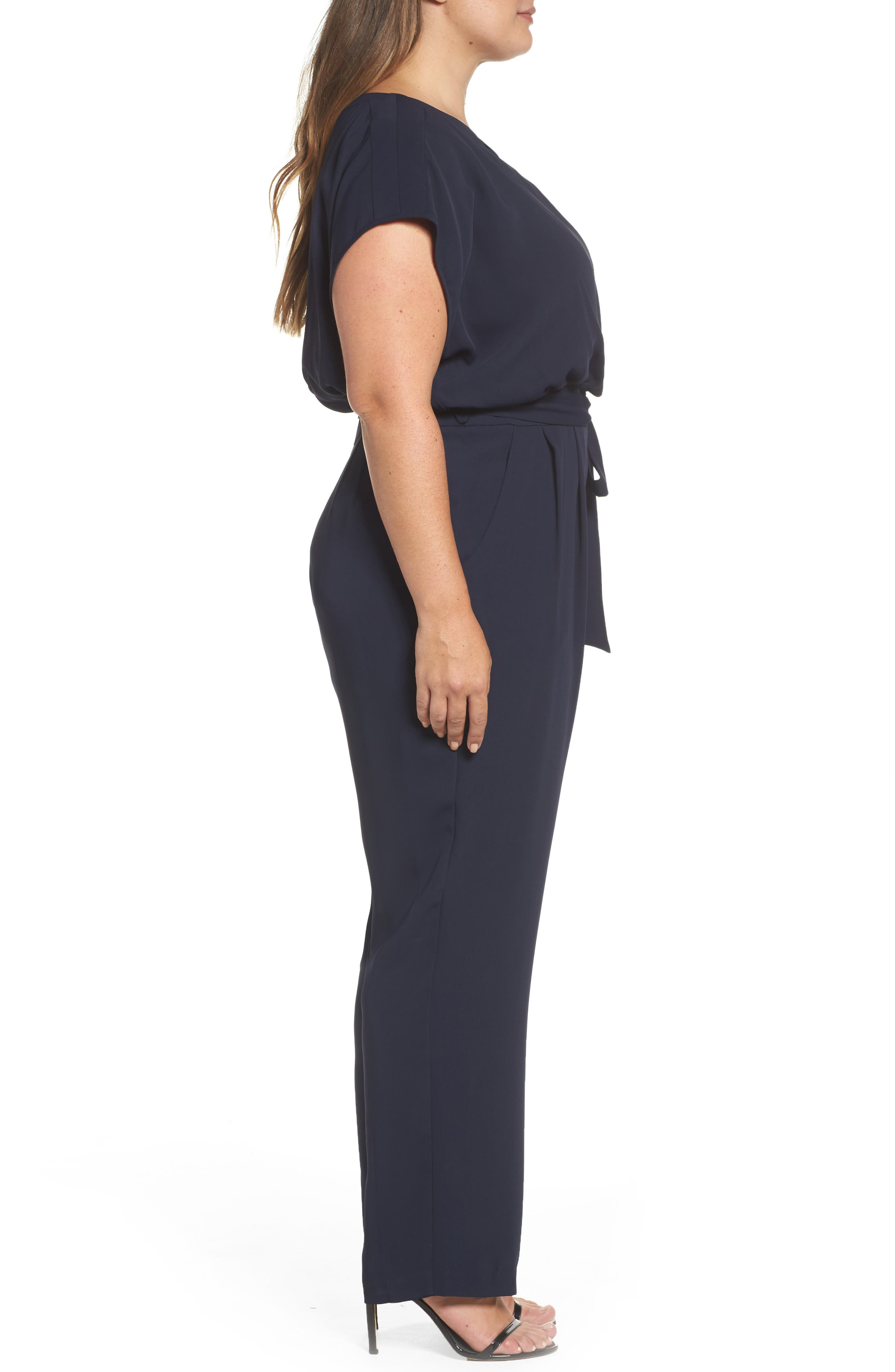 Alternate Image 3  - Eliza J Cap Sleeve Crepe Jumpsuit (Plus Size)